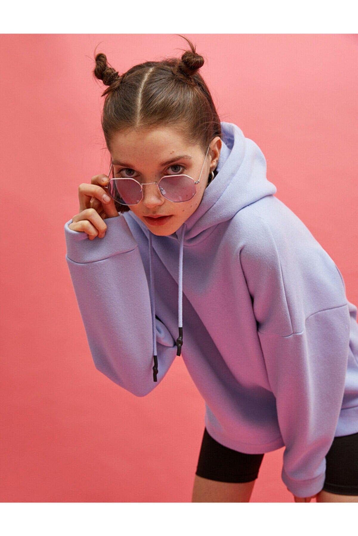 Koton Kadın Mavi Kapüşonlu Sweatshirt