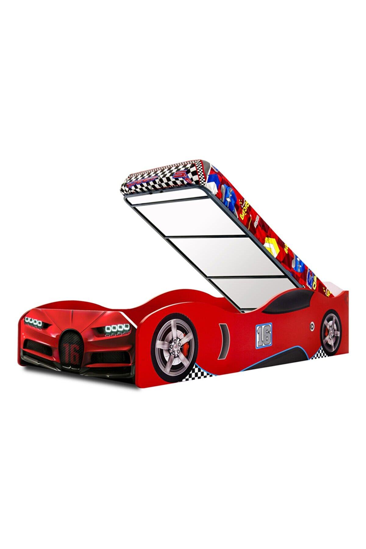 inegoldeneve S1 - Bmw - Eko - Arabalı Yatak Araba Karyola - Kırmızı - Bazalı