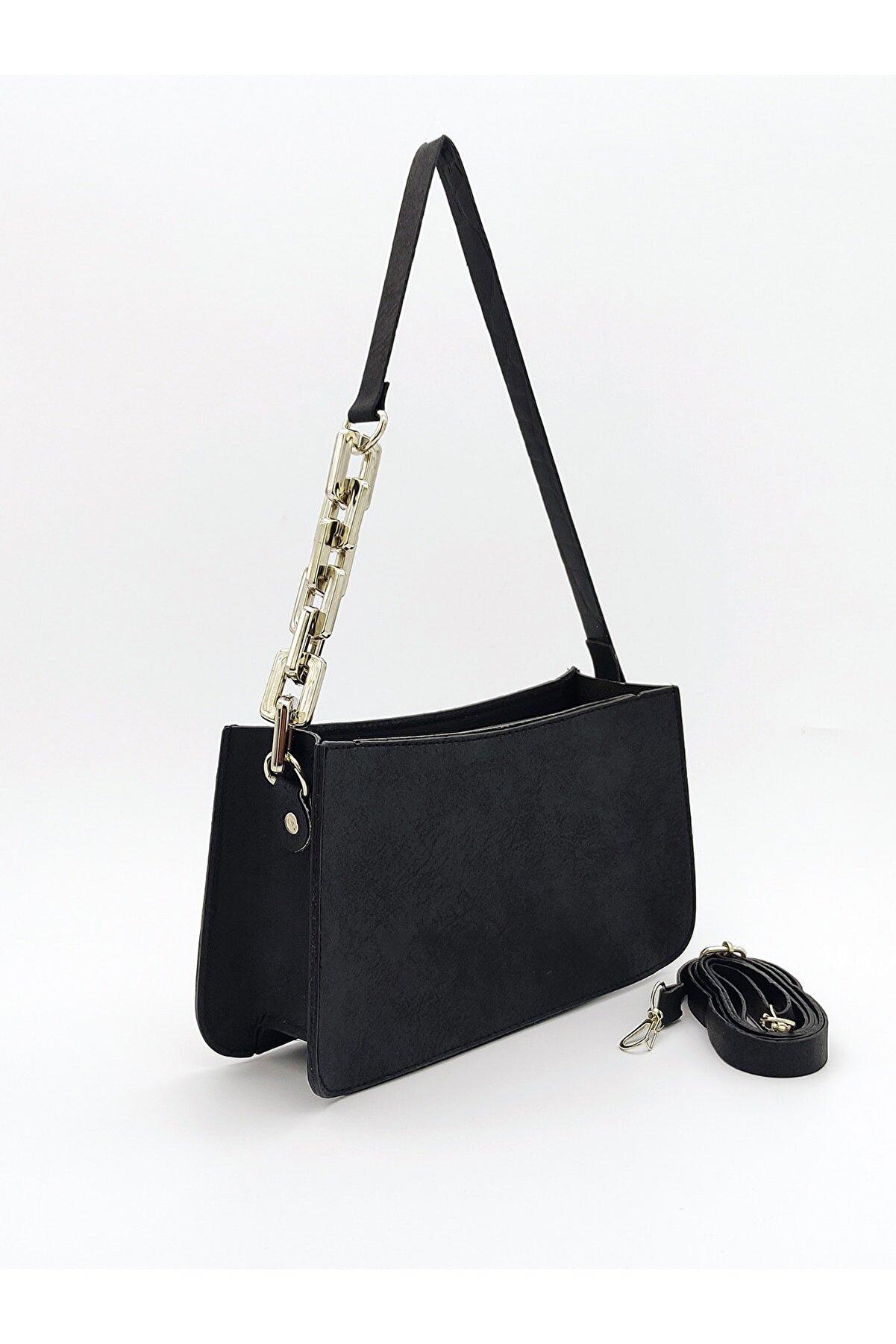Rimense Kadın Siyah Zincirli Baget Çanta