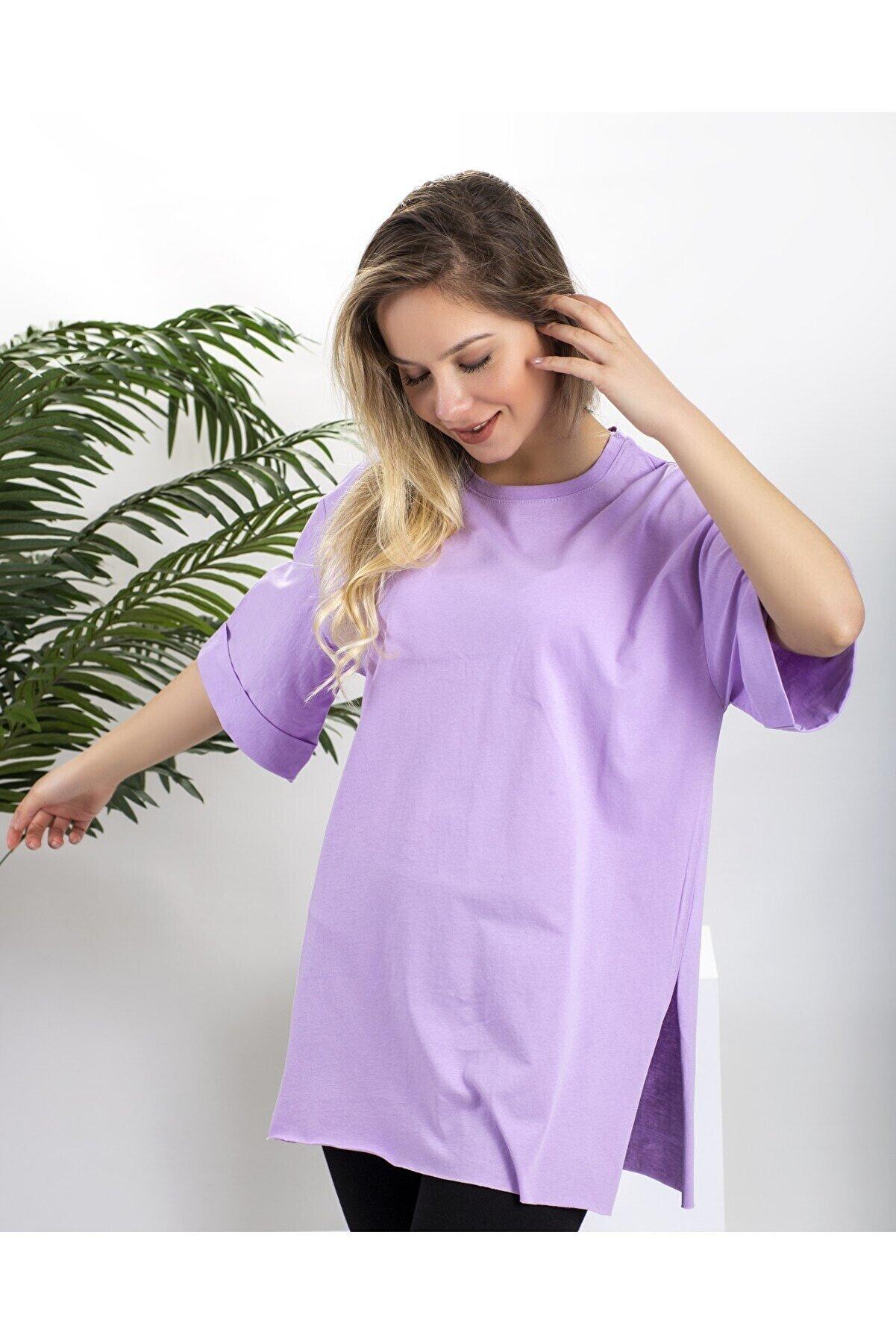 mağaza 35 Kadın Lila Bisiklet Yaka Kol Manşetli Yan Yırtmaçlı Oversize T-shirt