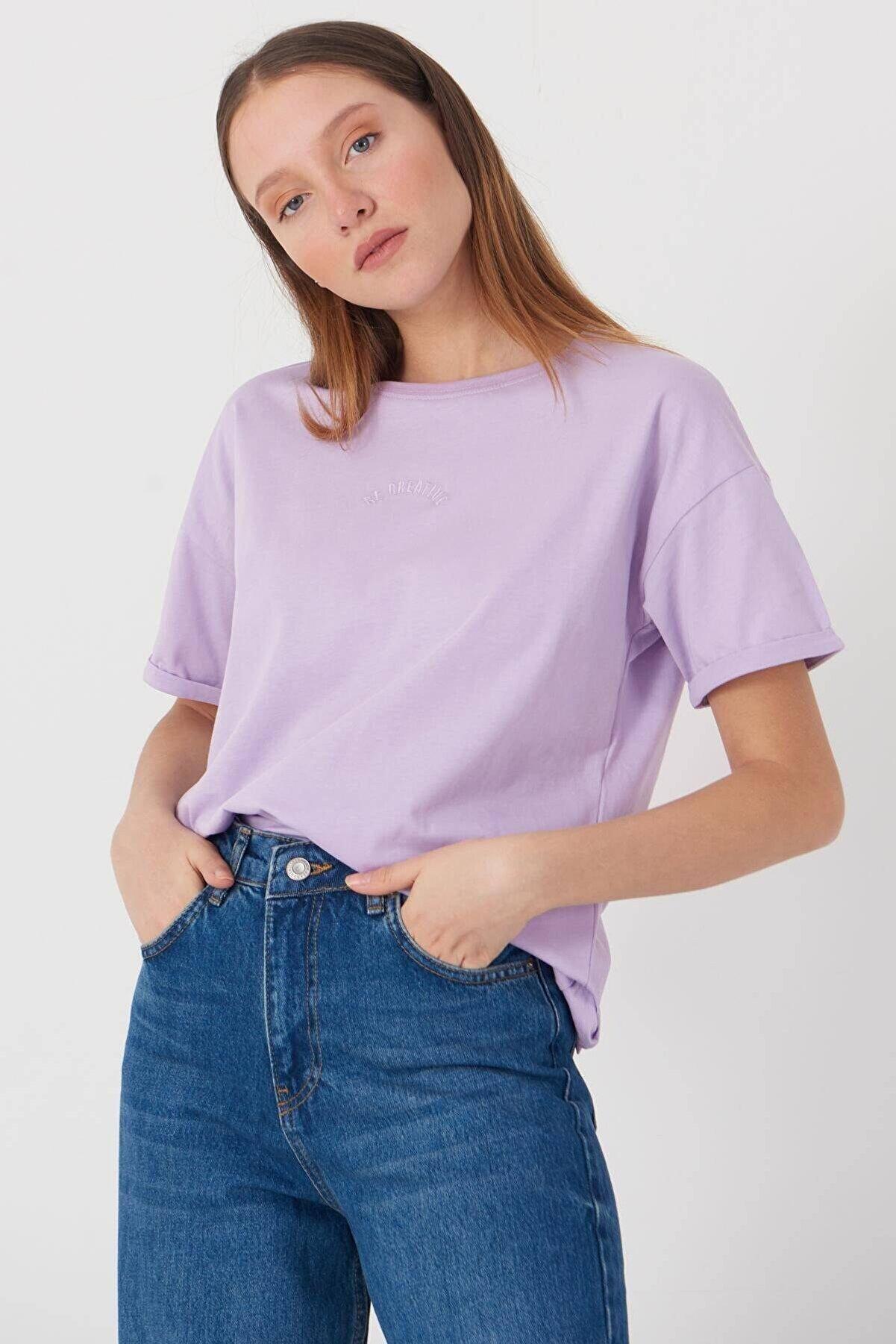 Addax Kadın Lila Yazı Detaylı T-Shirt P0659 - Dk12 Adx-0000018505