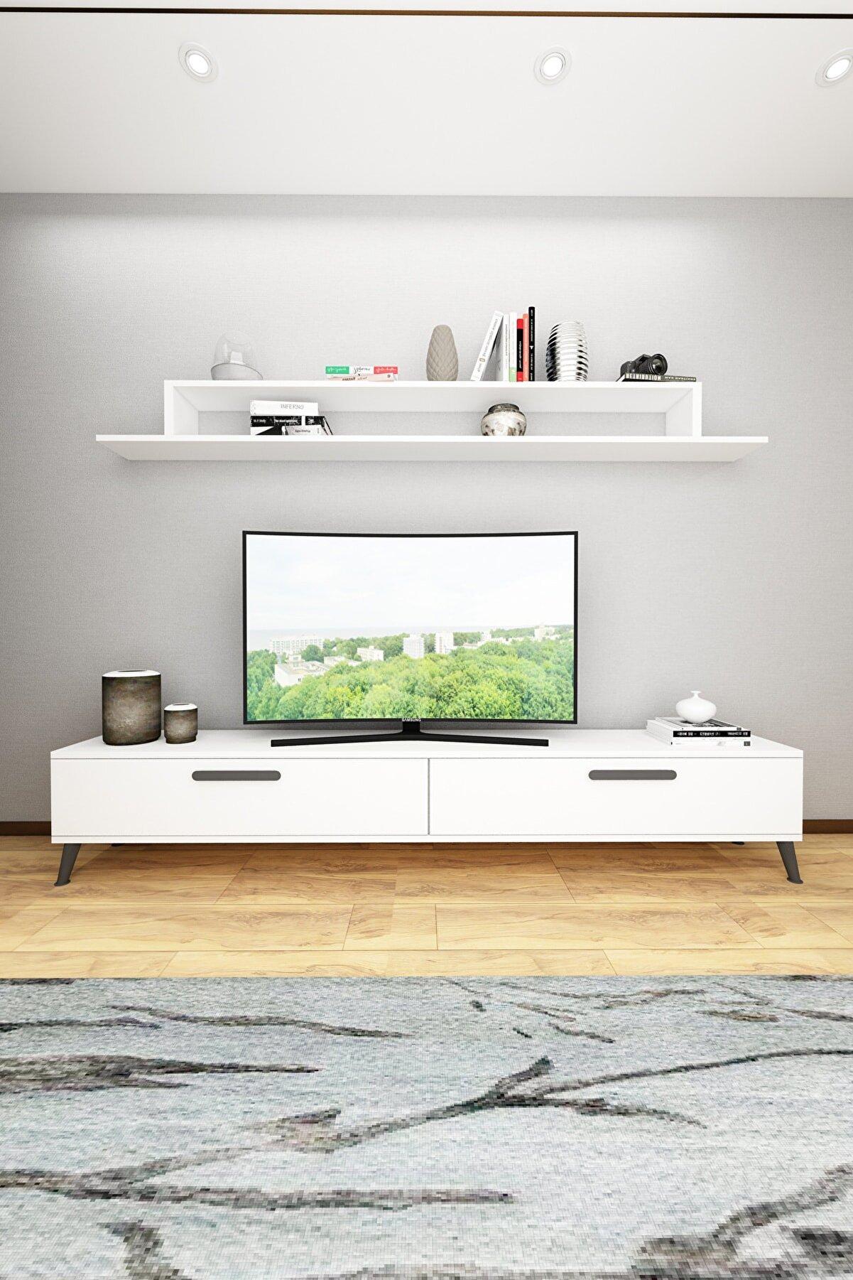 Wood House Lodos Tv Ünitesi-beyaz-siyah