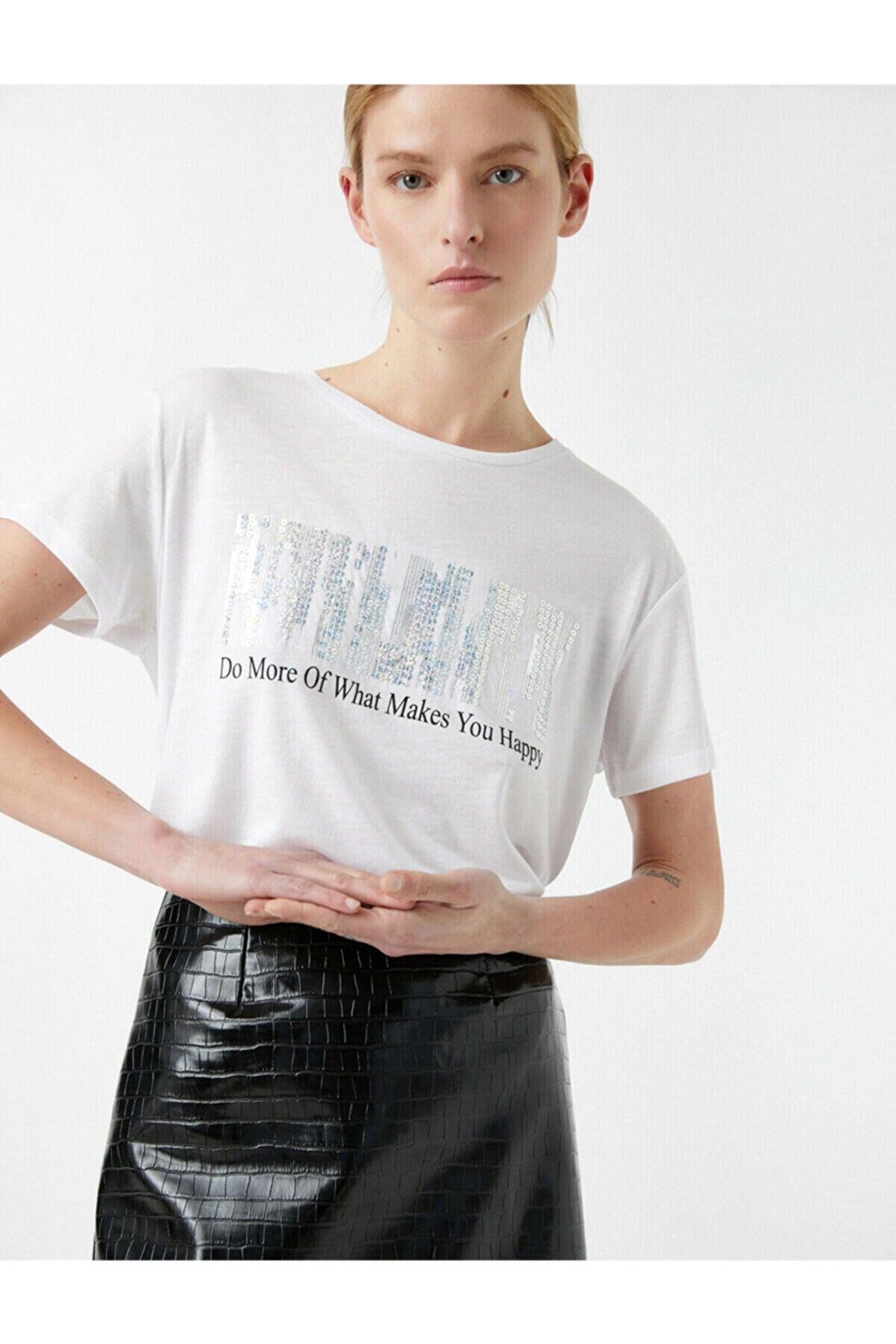 Koton Kadın Ekru Slogan Baskılı Pullu Kısa Kollu Bisiklet Yaka T-Shirt