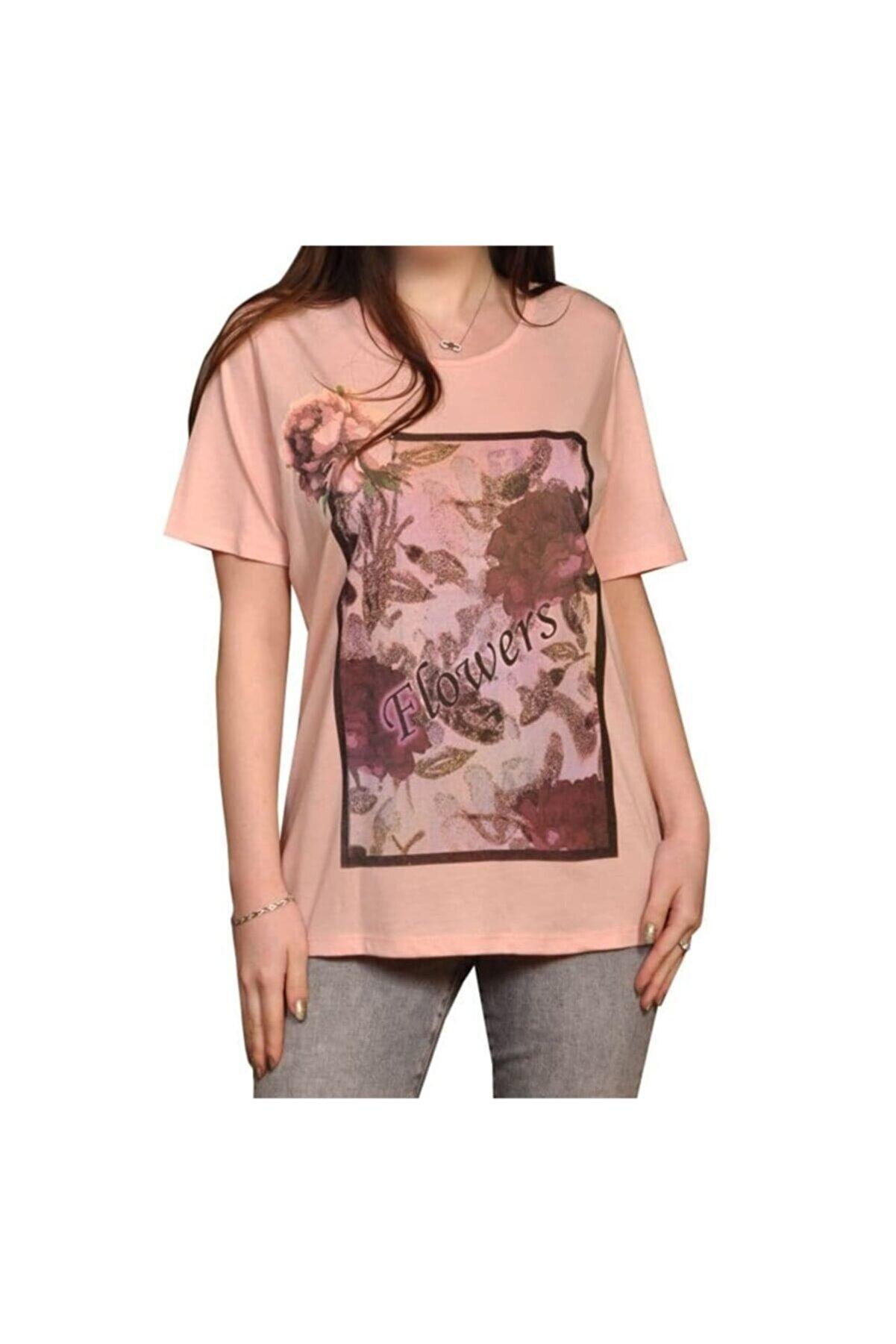 İsmet Tekstil Kadın Çiçek Baskılı Tshirt