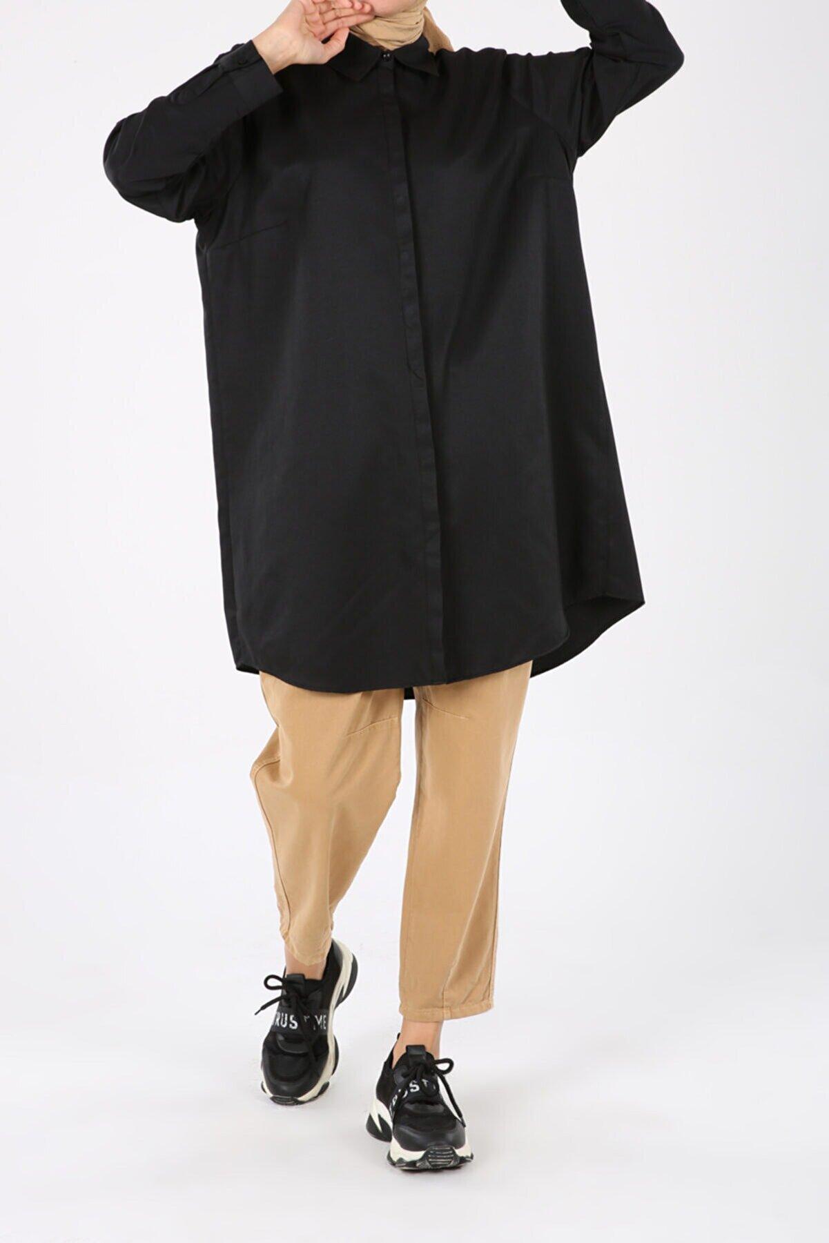 ALLDAY Siyah Büyük Beden Gizli Patlı Gömlek Tunik