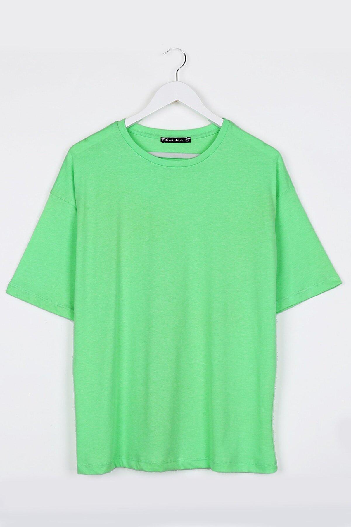 Sekizbiraltı Neon Yeşil Kadın Basic Oversize Tshirt
