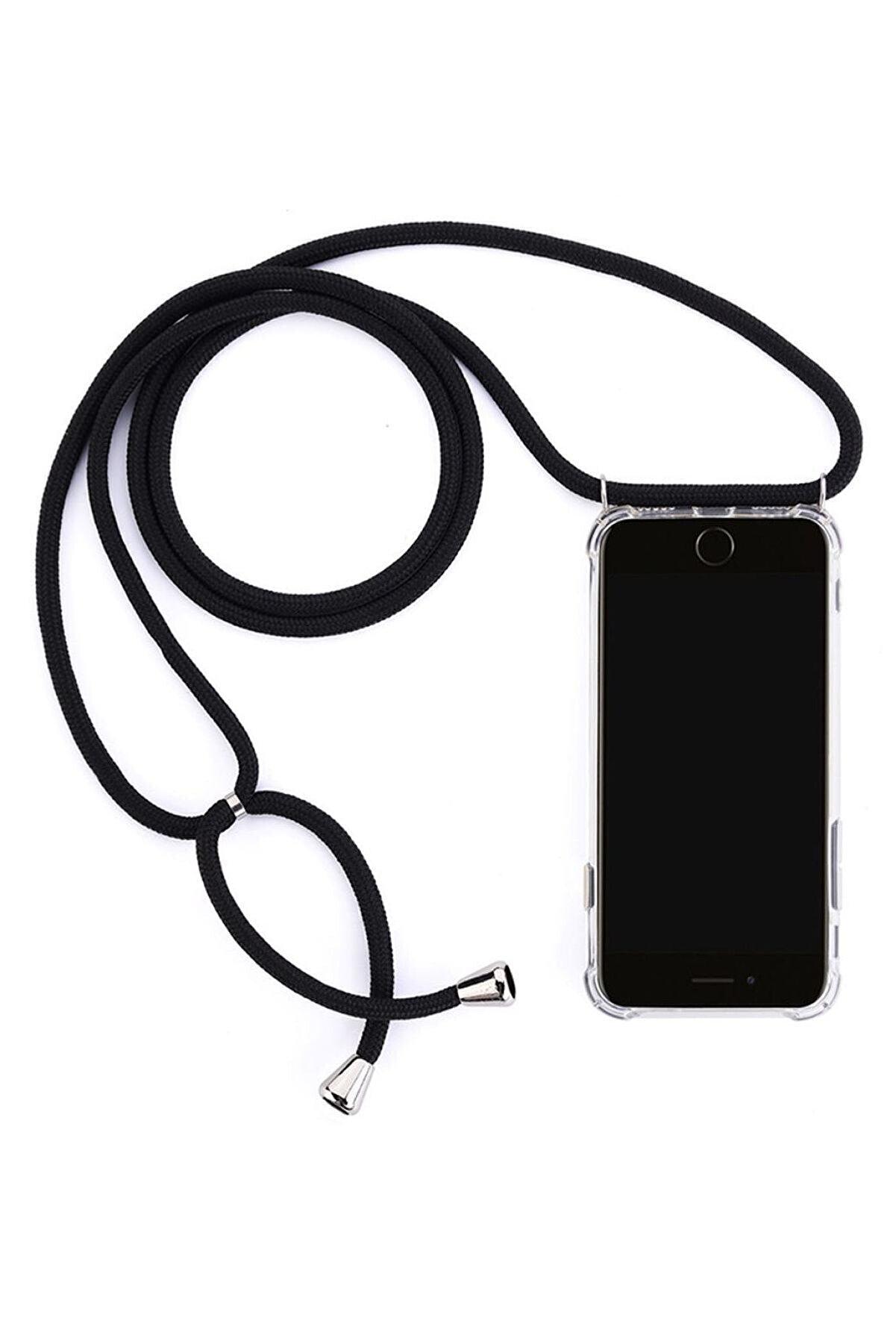 emybox Iphone 6 6s Uyumlu  Boyundan Askılı Şeffaf Darbe Emici Silikon Telefon Kılıfı Siyah + Ekran Koruyucu