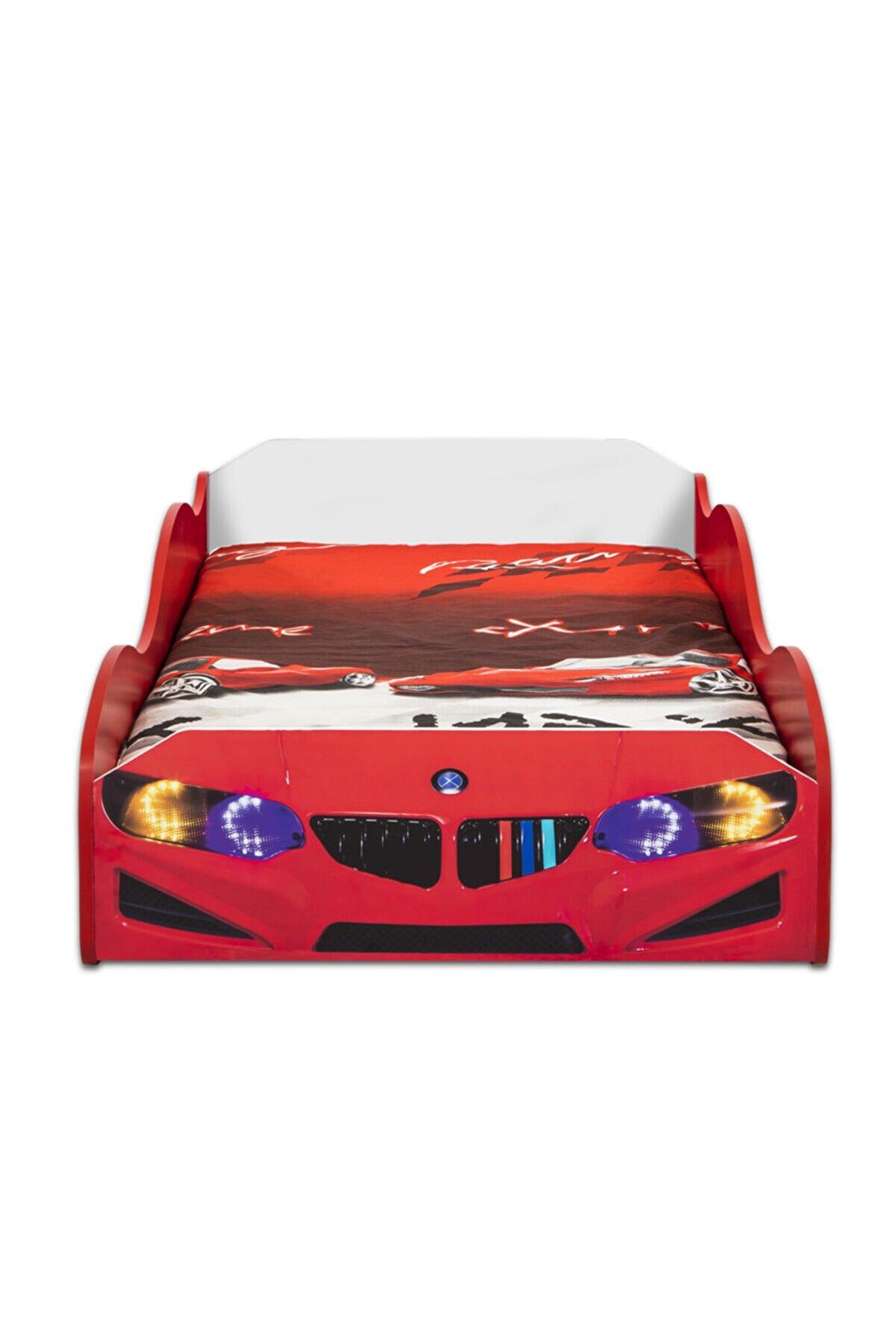 inegoldeneve S1 - Bmw - Eko - Arabalı Yatak Araba Karyola - Kırmızı