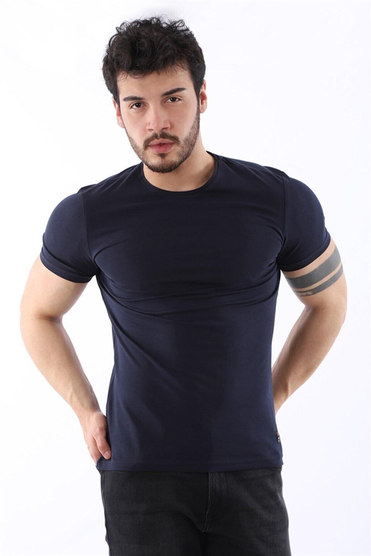 Arlin Erkek Sıfır Yaka Likralı Slim Fit Lacivert T-shirt