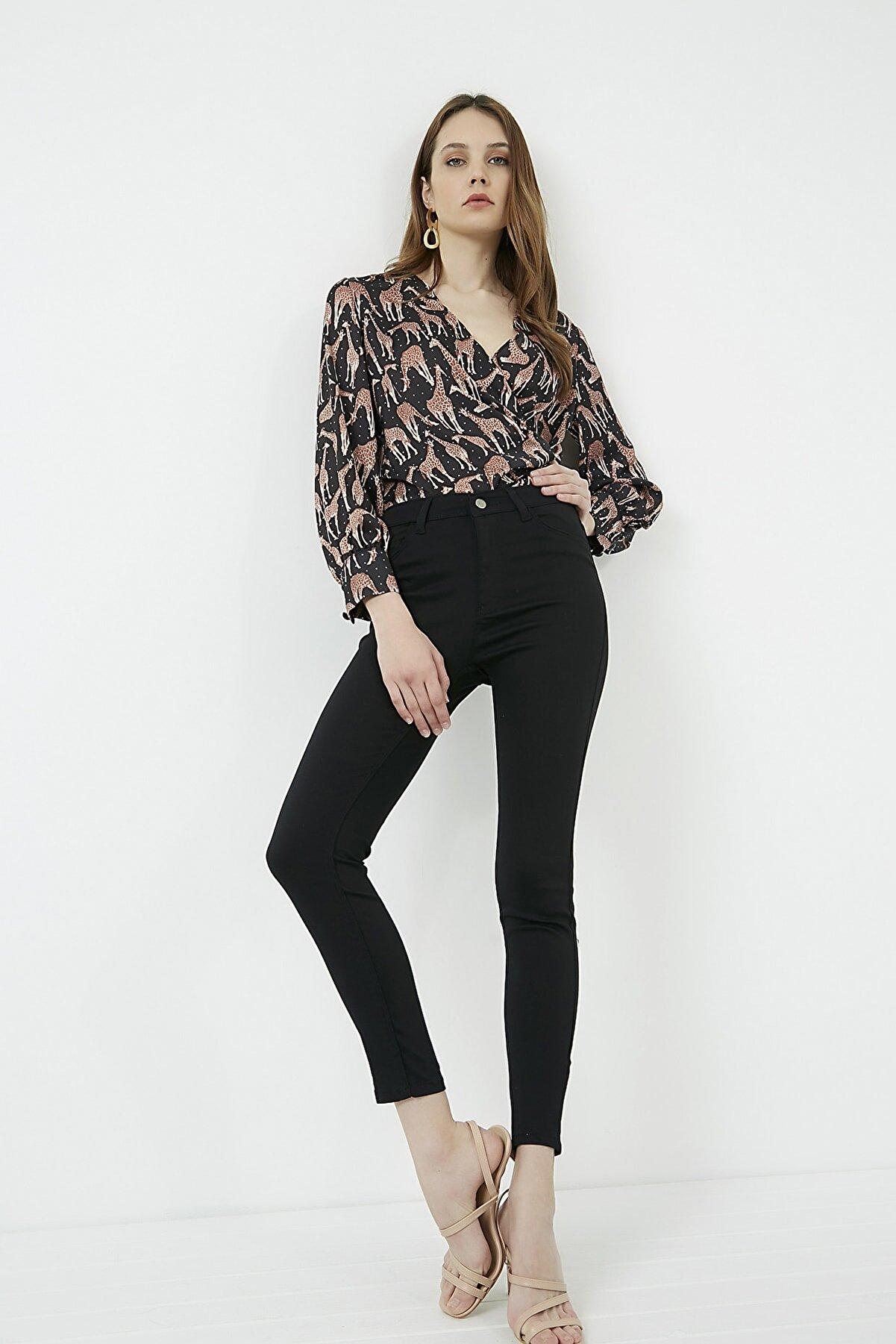 Vis a Vis Kadın Siyah Dar Paça Streç Pantolon  STN911KPA101