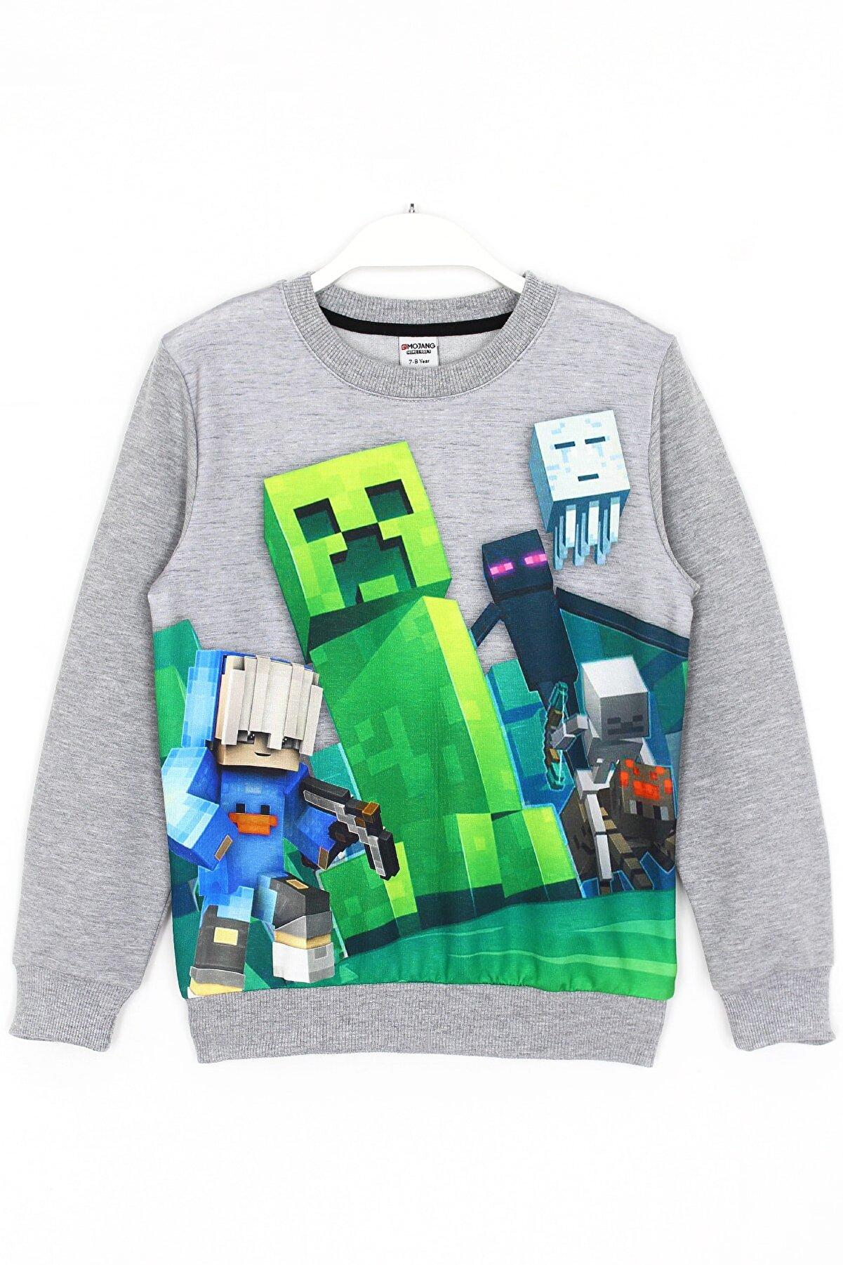 Minecraft Çocuk Gri Minecraft Creeper Baskılı Sweatshirt 5 - 14 Yaş