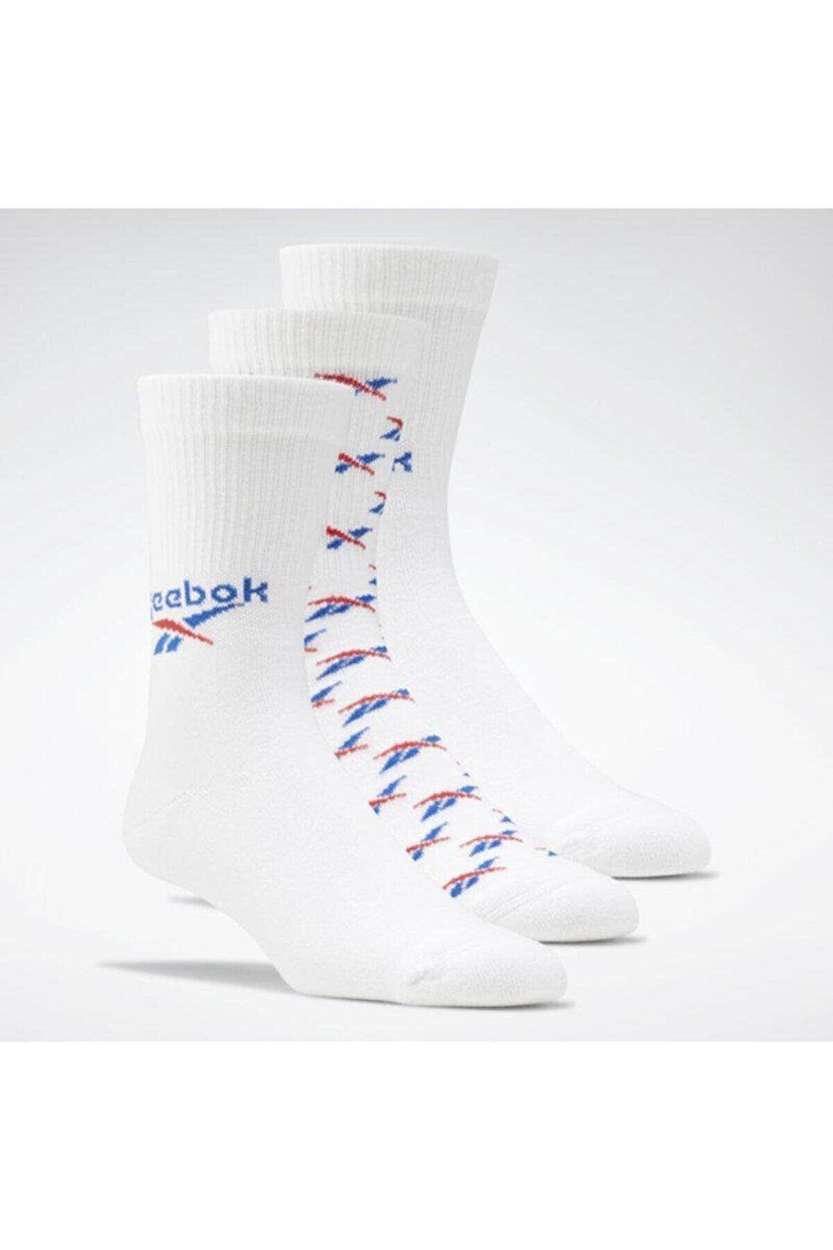 Reebok Beyaz Ve Desenli Uzun Çorap 3'lü Gg6684