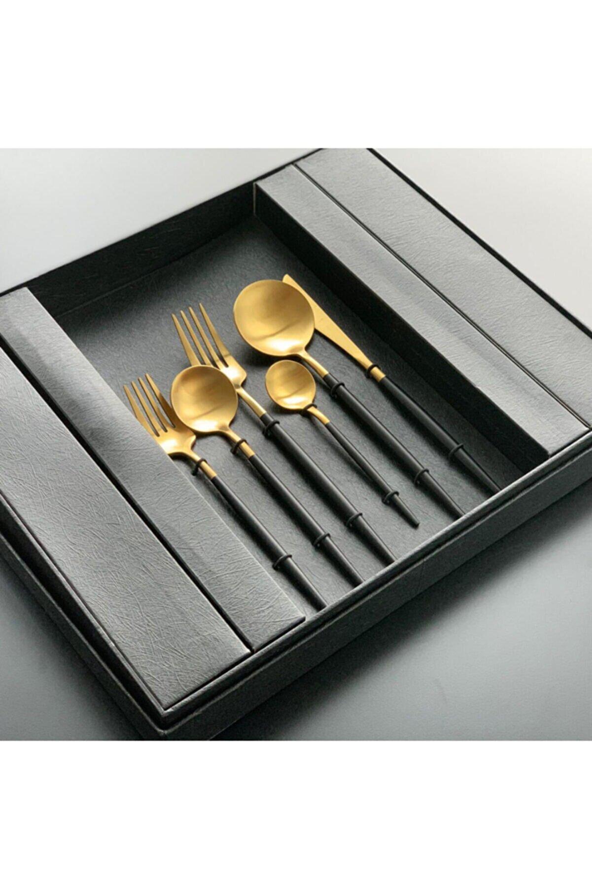 Lemm Home Mat Altın-siyah Çkb Seti 6 Kişilik 36 Parça