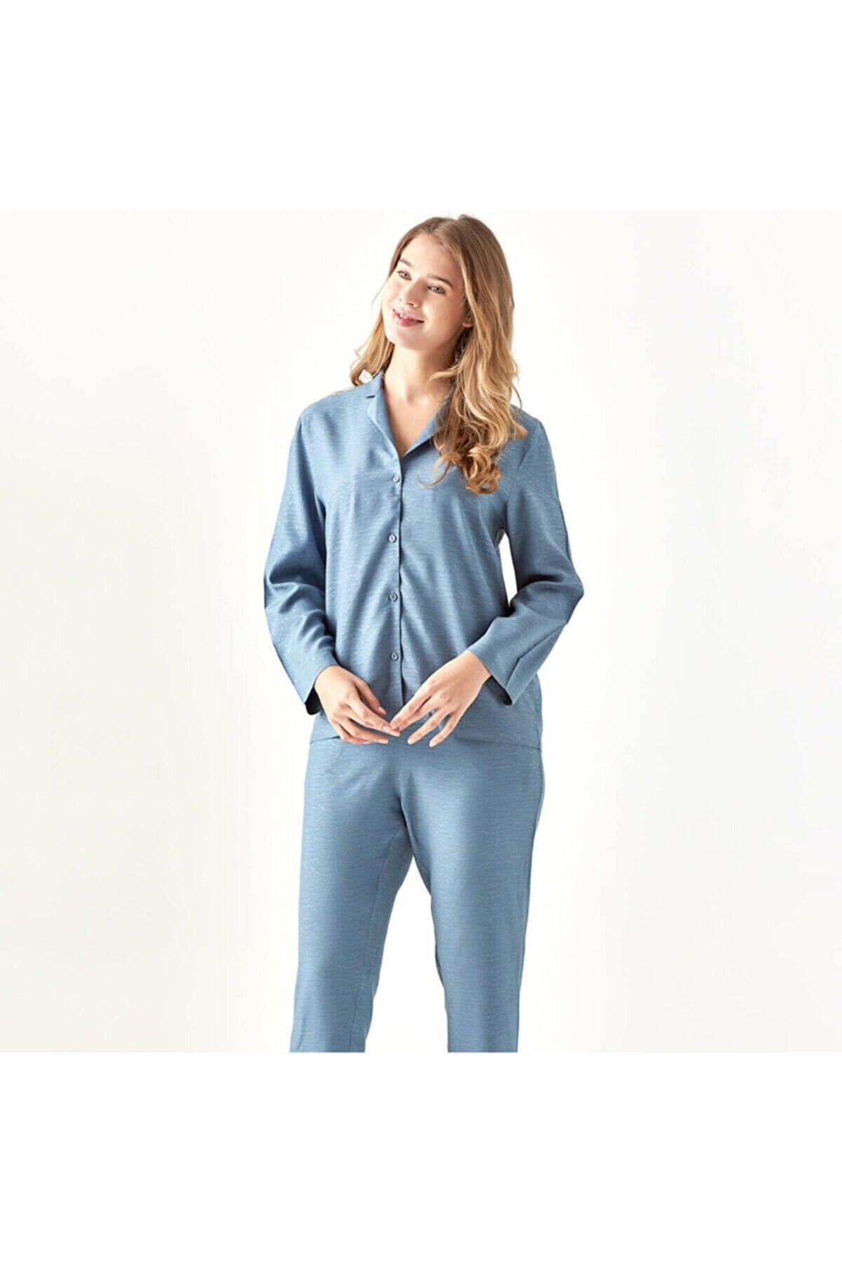 Bella Maison Kadın Mavi Viskon Dahlia Pijama Altı