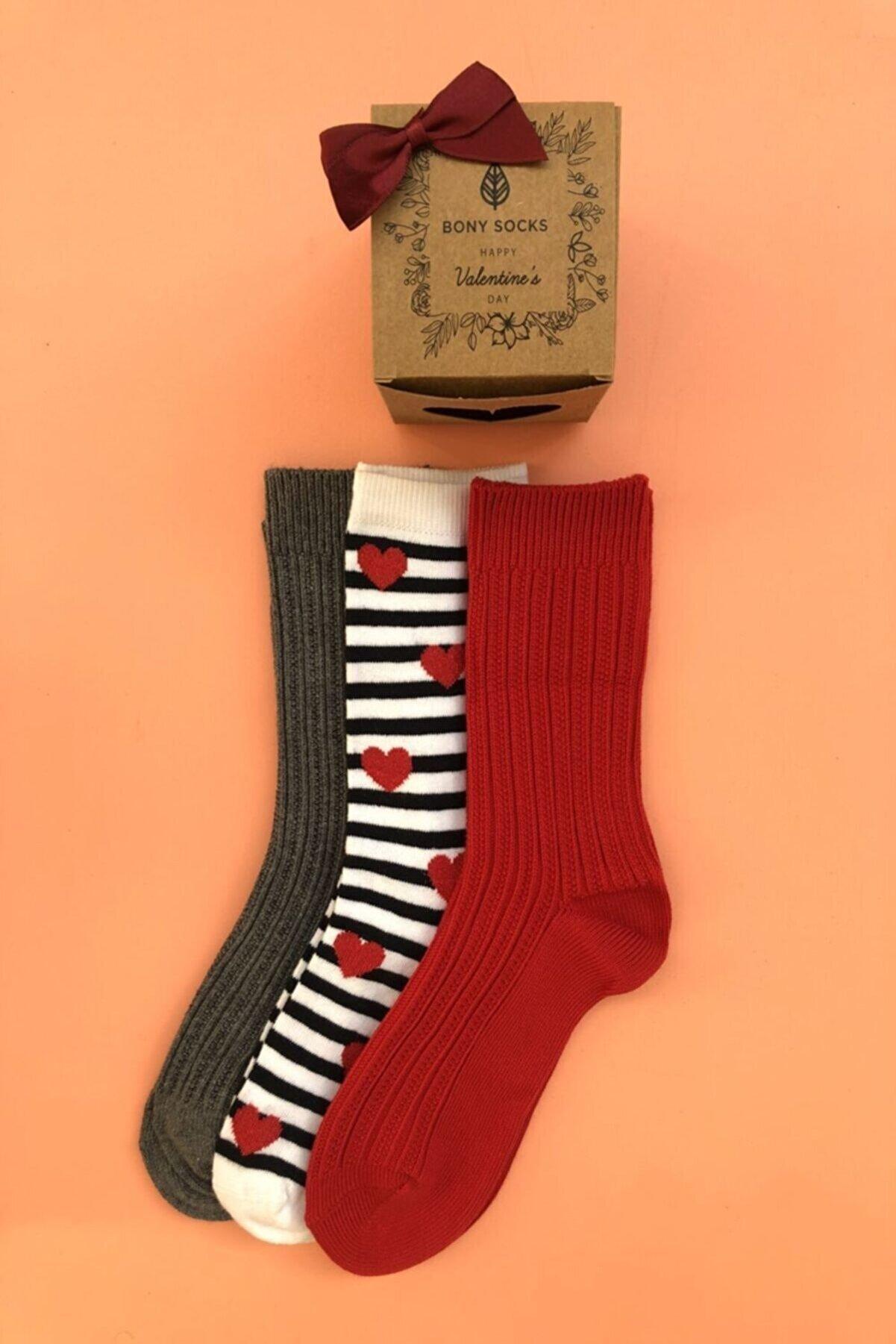BONY SOCKS 3' Lü Paket Kalp Desenli Kadın Çorap - Mix