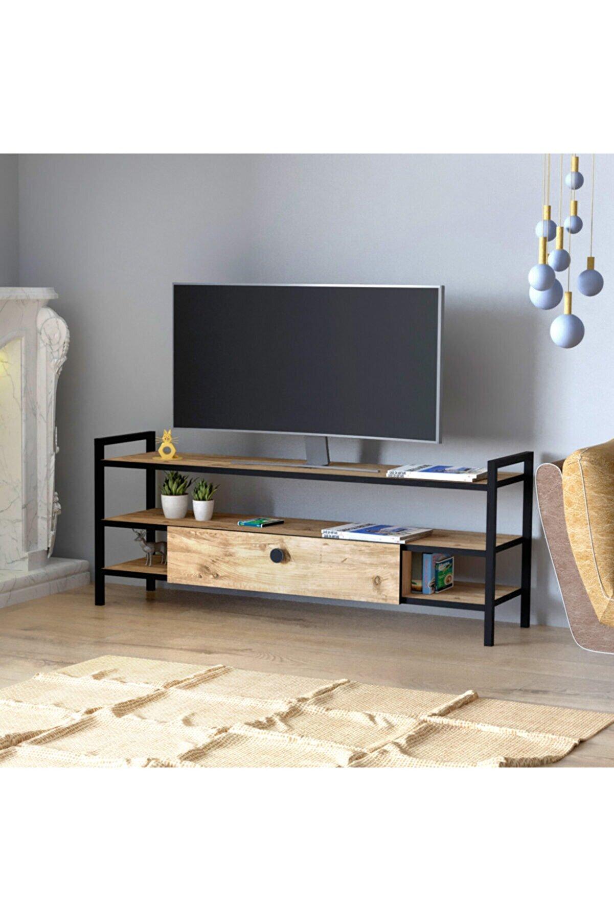 decoAlife Sedef Metal Ayaklı Çam Televizyon Sehpası