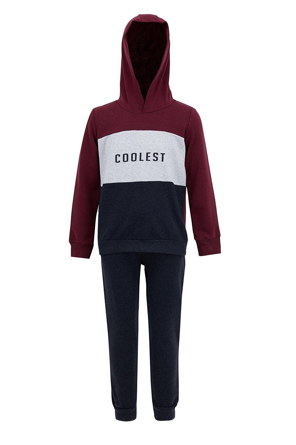 Defacto Erkek Çocuk Yazı Baskılı Renk Bloklu Sweatshirt Ve Jogger Eşofman Alt Takım T4690A621SP