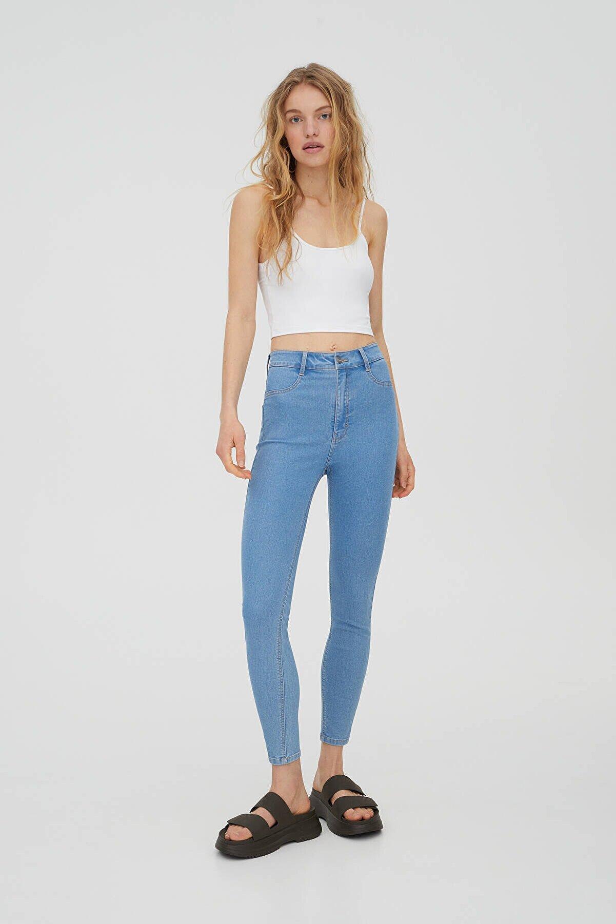 Pull & Bear Kadın Mavi Yüksek Bel Skinny Jean