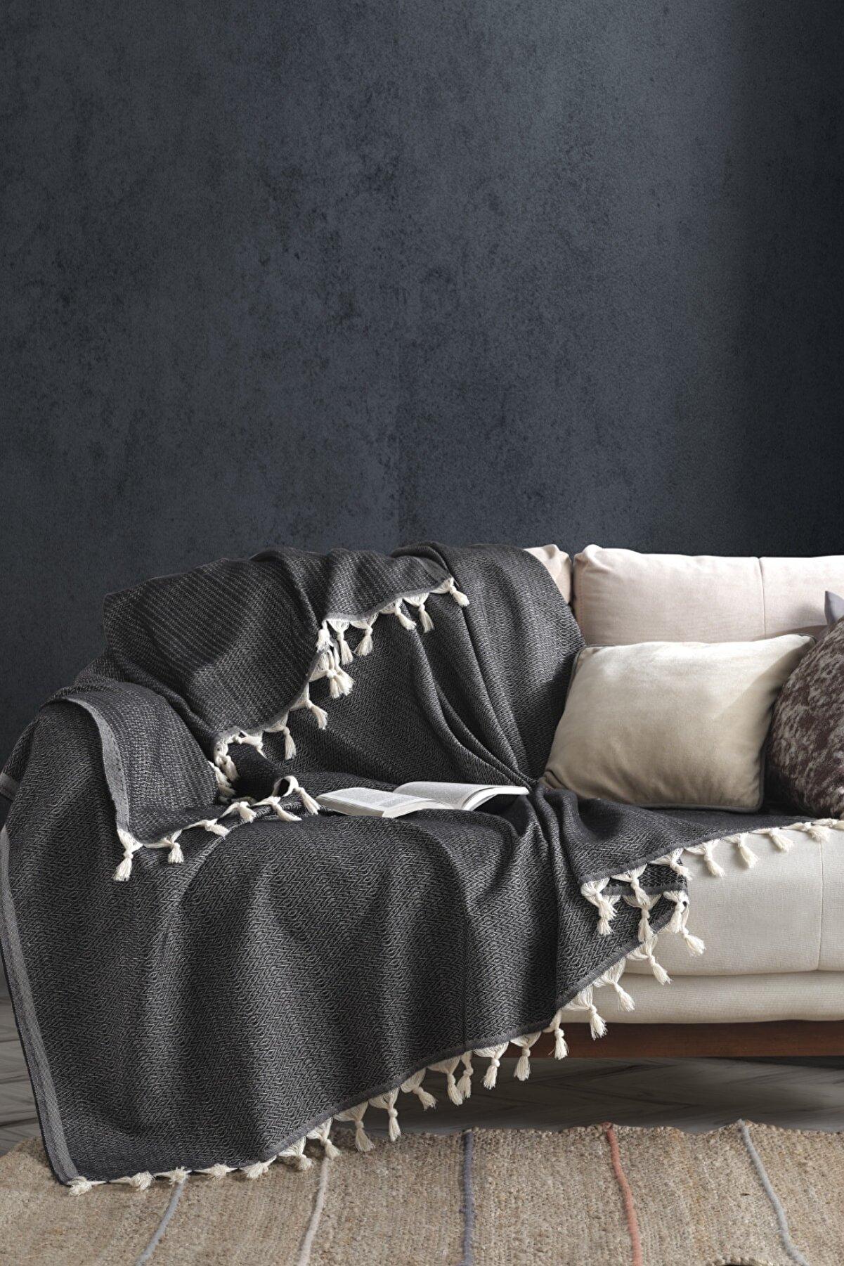 Viaden Home Natural Koltuk Örtüsü 170x230 cm Jungle - Siyah