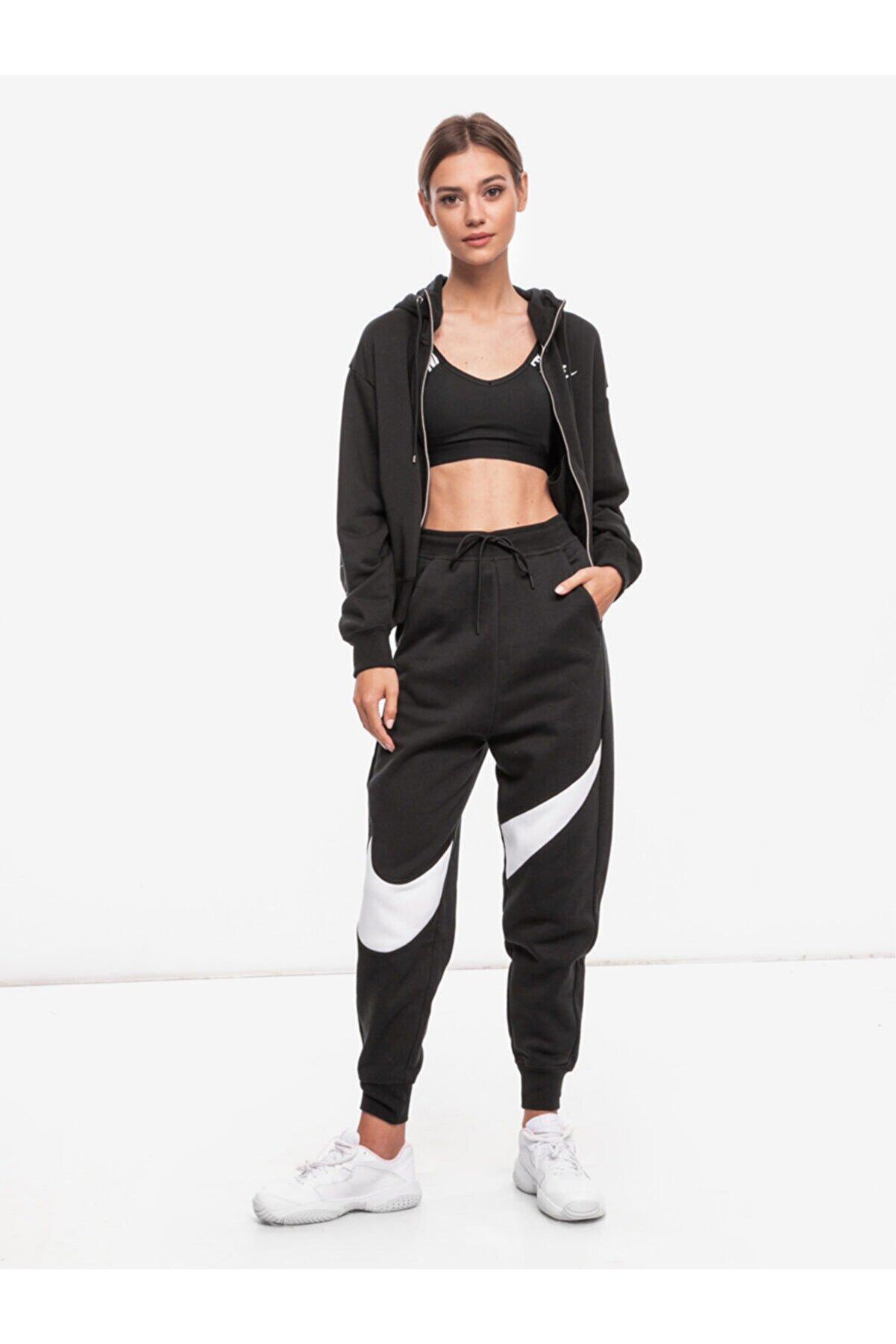 Nike Kadın Siyah Swoosh Fleece Eşofman Altı