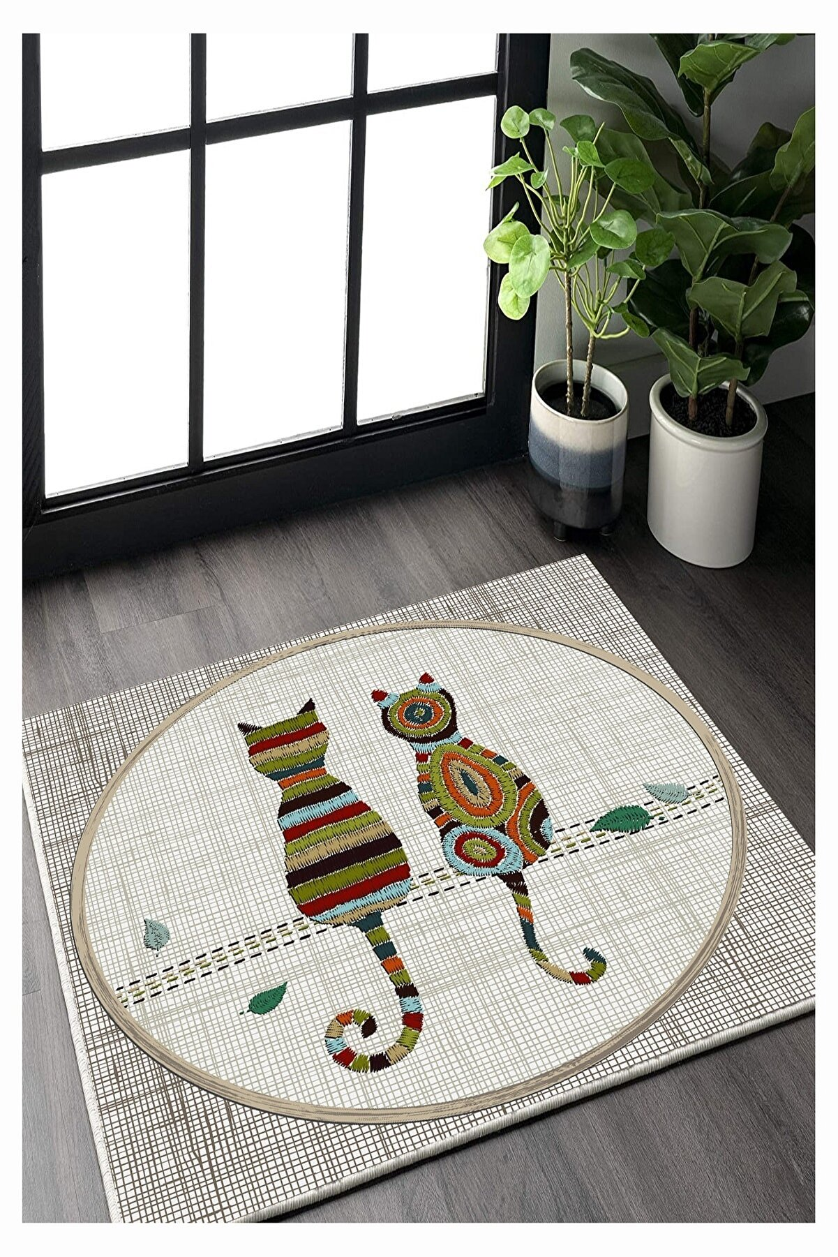 Residence Aşık Kediler Kare Kaymaz Taban Halı