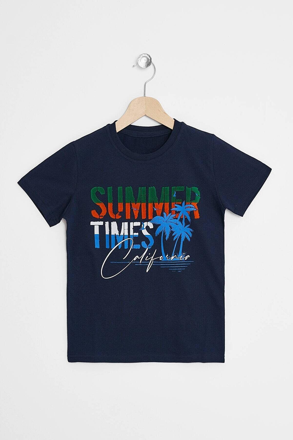 zepkids Erkek Çocuk Lacivert Summer Times Baskılı T-shirt