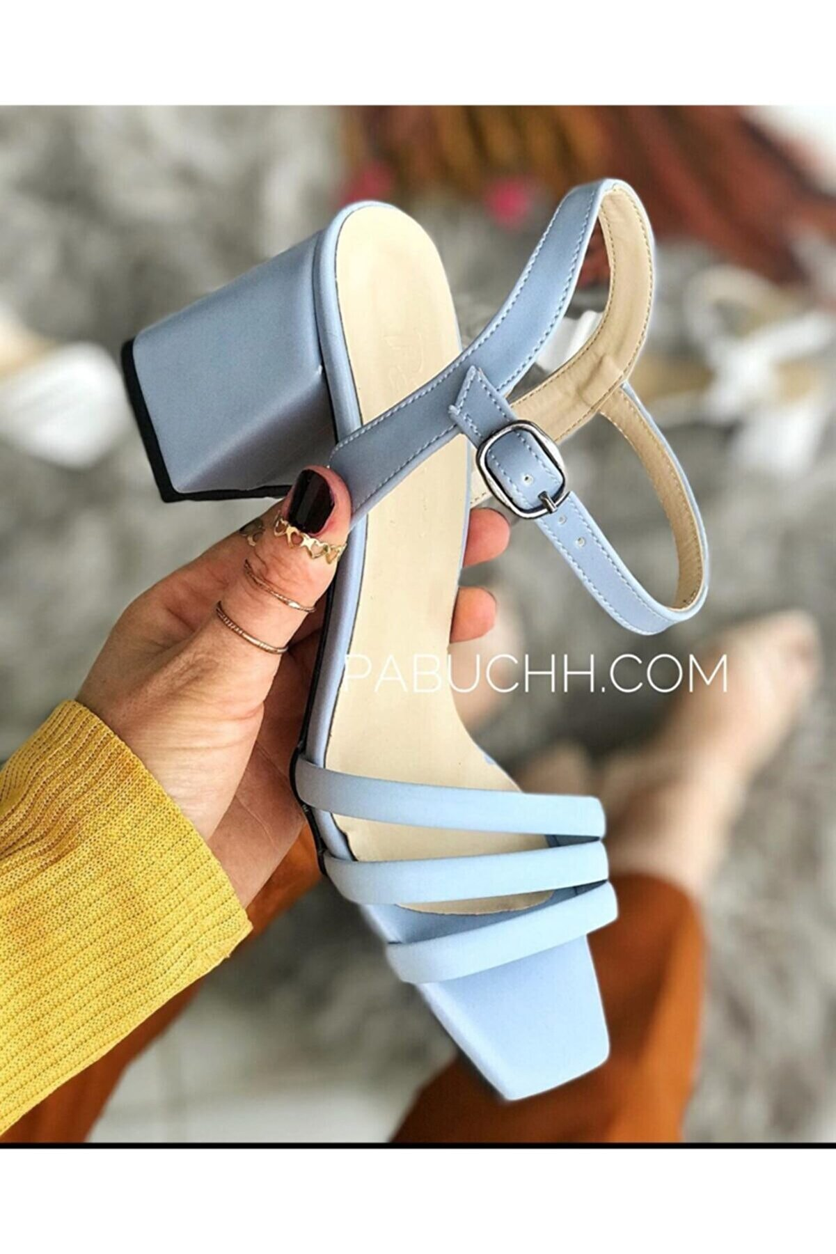 Parponi Harper Deri Bilekten Tokalı Bebek Mavi Topuklu Ayakkabı