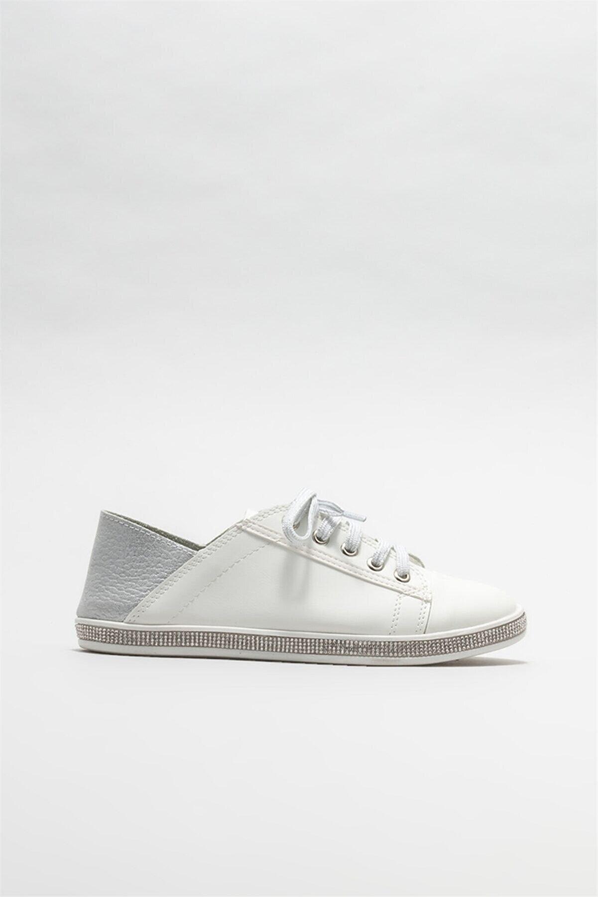 Elle Beyaz Kadın Düz Ayakkabı