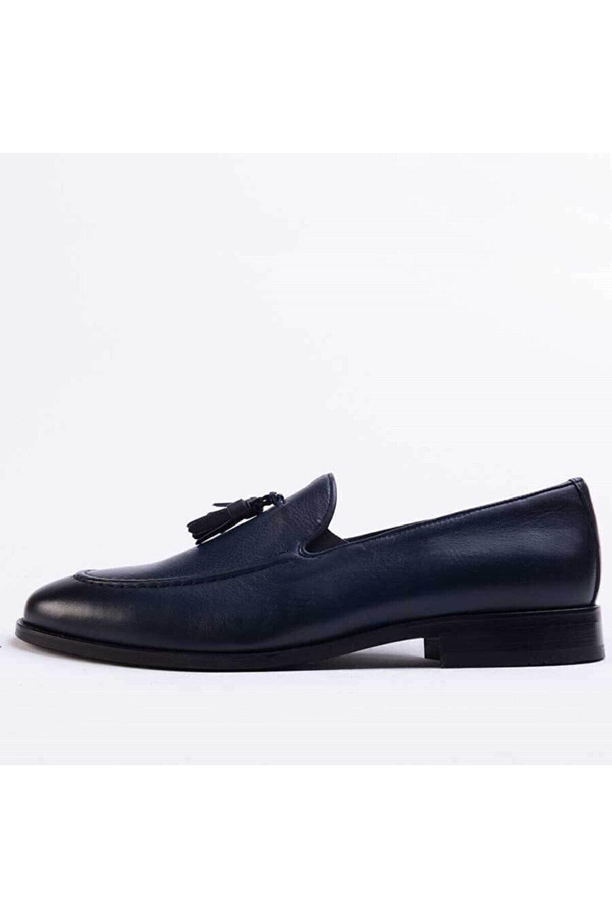 Gusse Santos Erkek Lacivert Hakiki Deri Ayakkabı