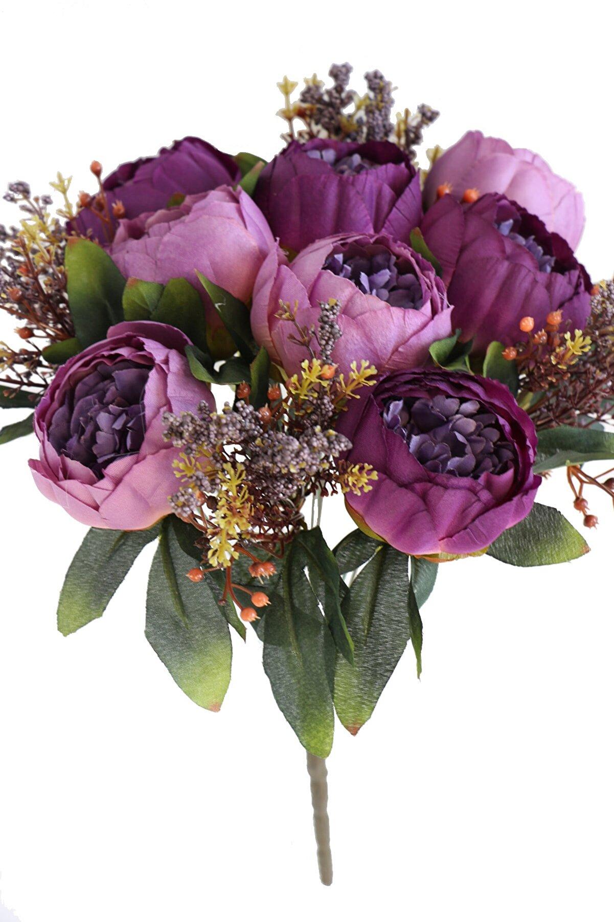 Yapay Çiçek Deposu Mor Şakayık Gül Aranjmanı Yapay Çiçek 12 Dallı