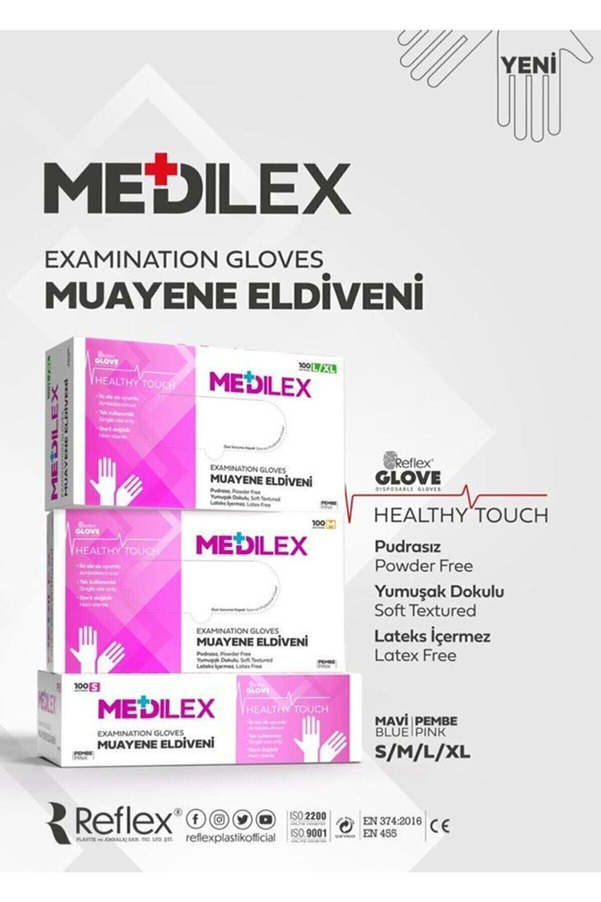 Reflex Medilex Pudrasız Pembe Muayene Eldiven 100'lü - M Beden