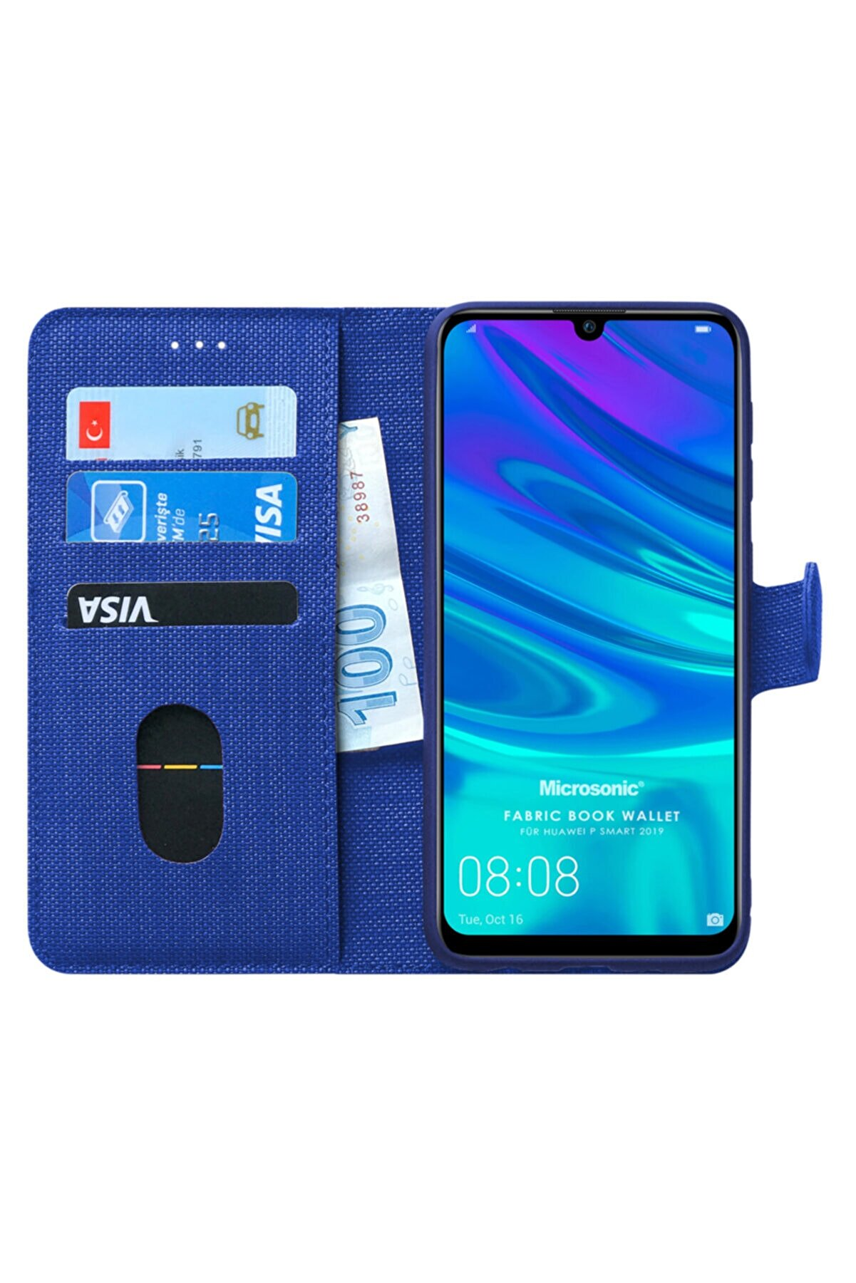 Microsonic P Smart 2019 Kılıf, Microsonic Fabric Book Wallet