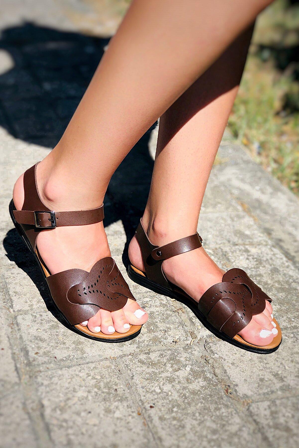 TRENDBU AYAKKABI Kadın Kahverengi Sandalet