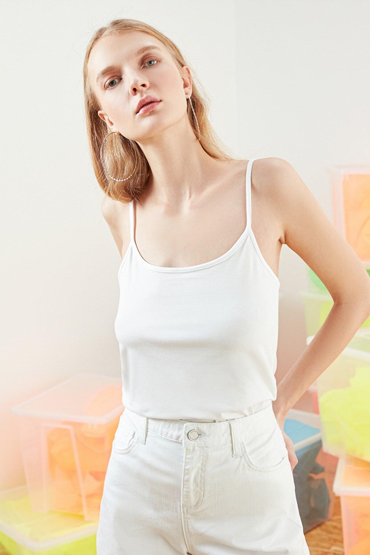 Mudo Kadın Beyaz İp Askılı Pamuklu Atlet 368780