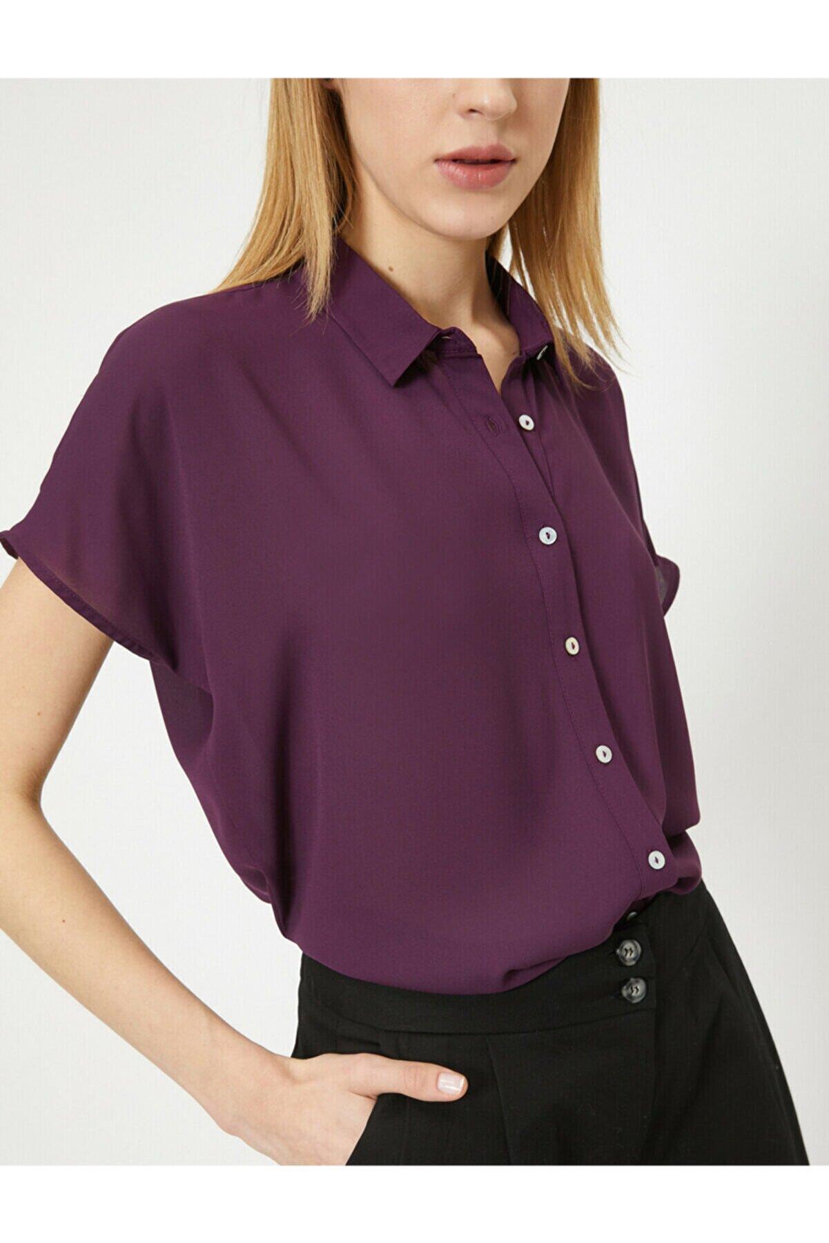 Koton Kadın Patlican Moru Gömlek