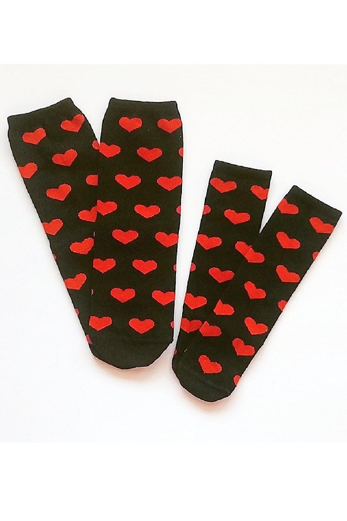 Asa Bebek Çocuk Anne Kız Siyah Zemin Kalp Desenli Çorap Kombin Takım