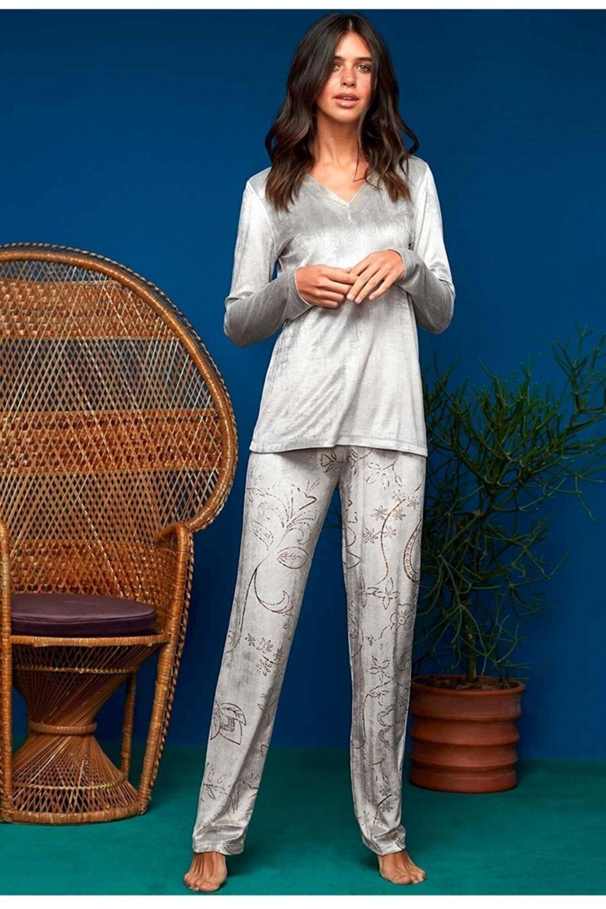 Penye Mood Kadın Gri Pijama Takımı 8633