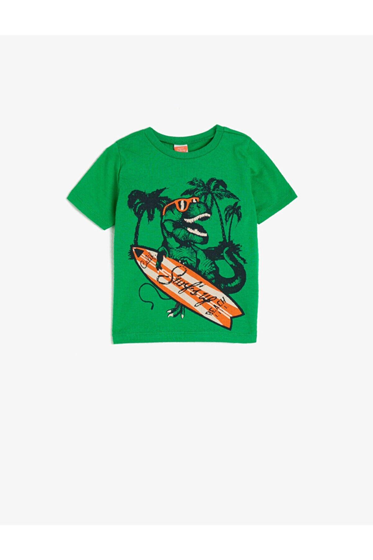 Koton Erkek Bebek Yeşil Kisa Kollu Bisiklet Yaka Dinozor Baskili T-Shirt