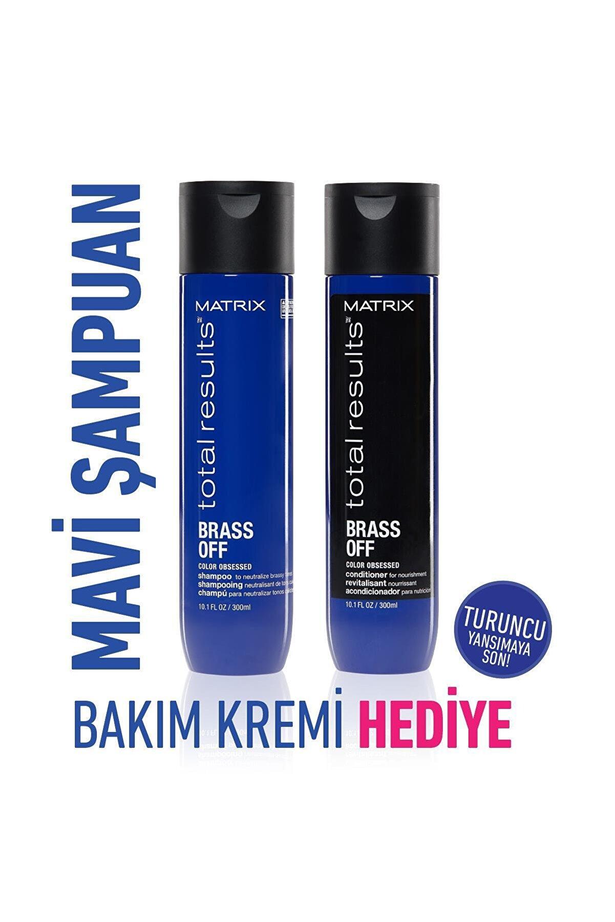 Matrix Brass Off Mavi Şampuan 300ml + Saç Bakım Kremi 300ml Bakım Seti