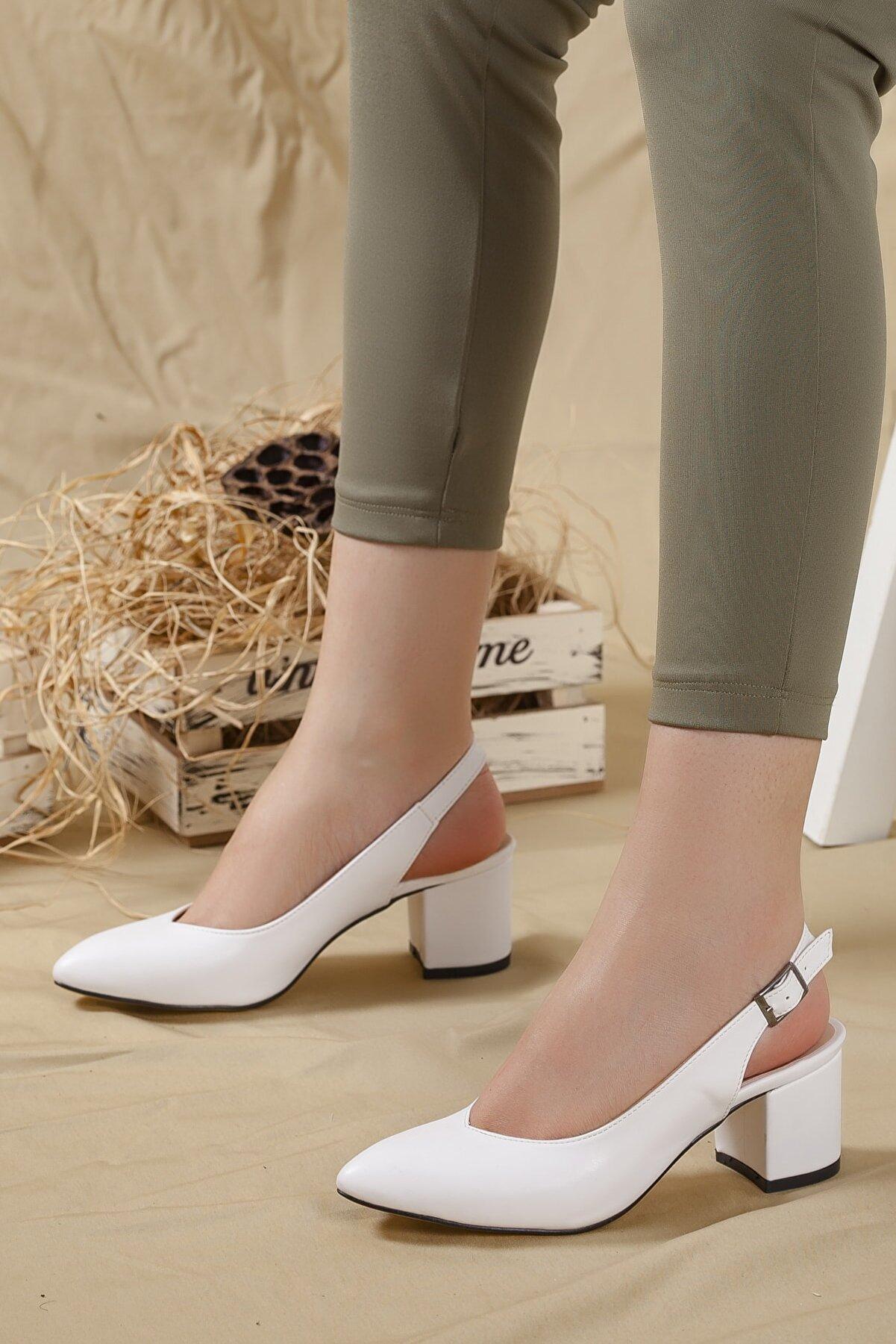 LENAY Kadın Beyaz Cilt Arkası Açık Kalın Topuklu Ayakkabı