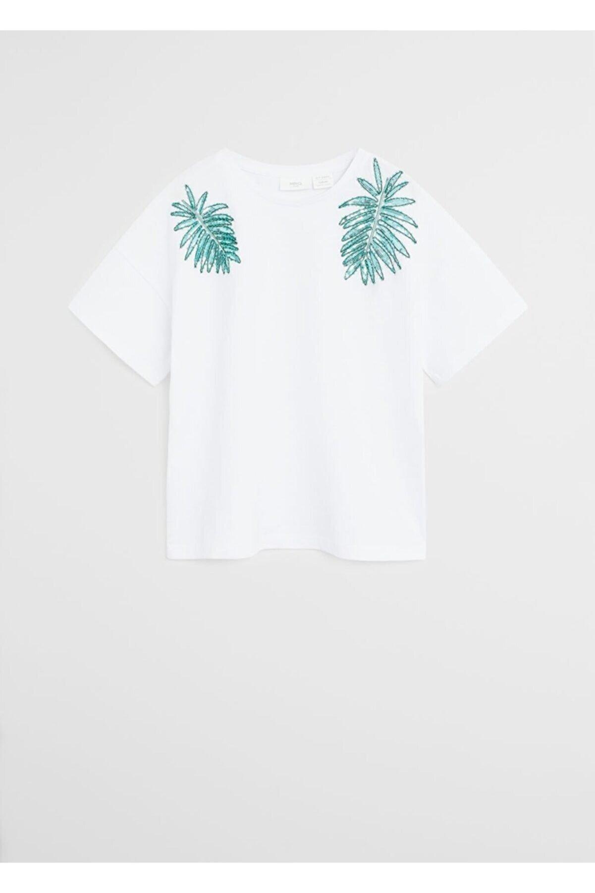Mango Boncuklu organik pamuklu tişört