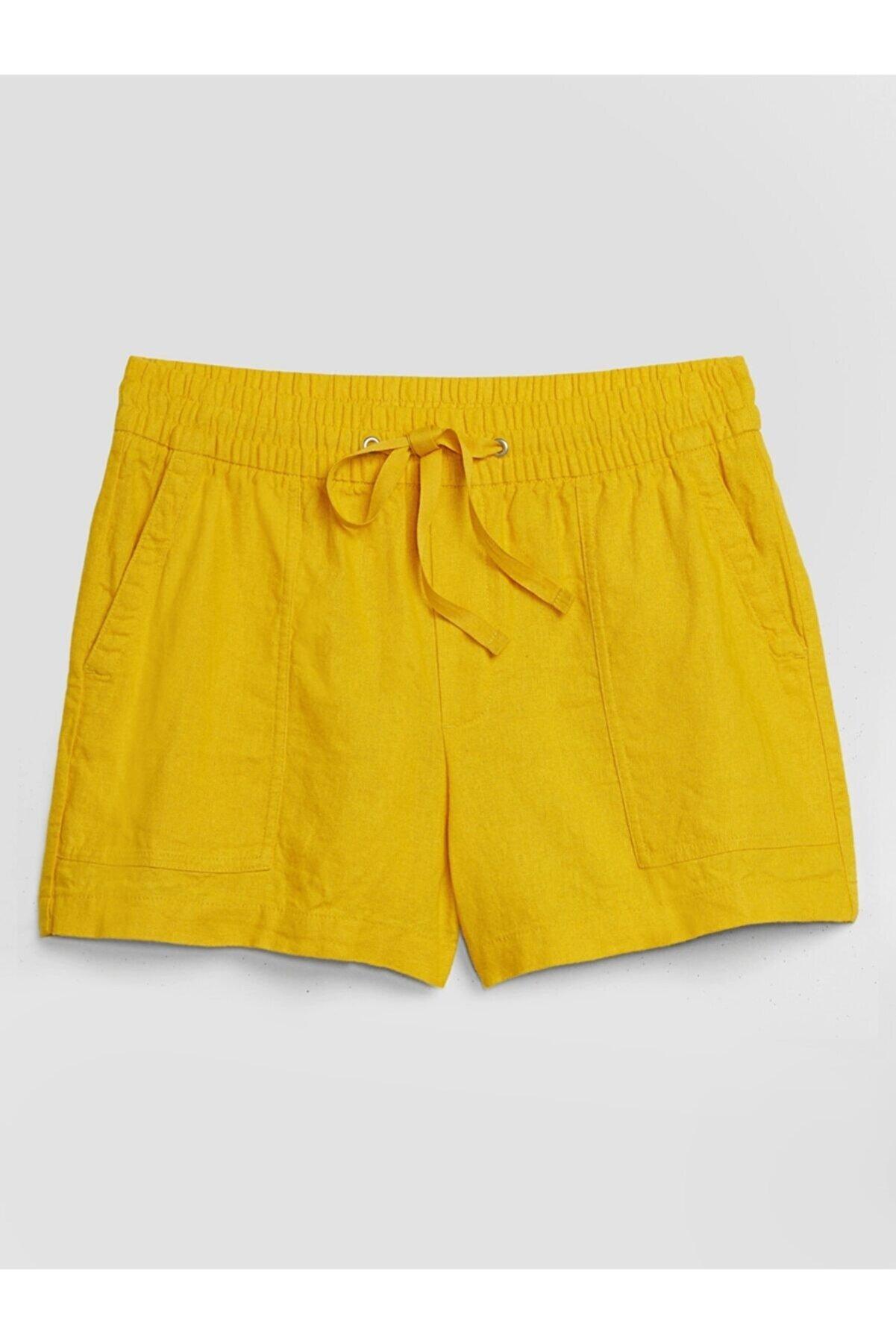 GAP Kadın Sarı Utility Pull On Şort