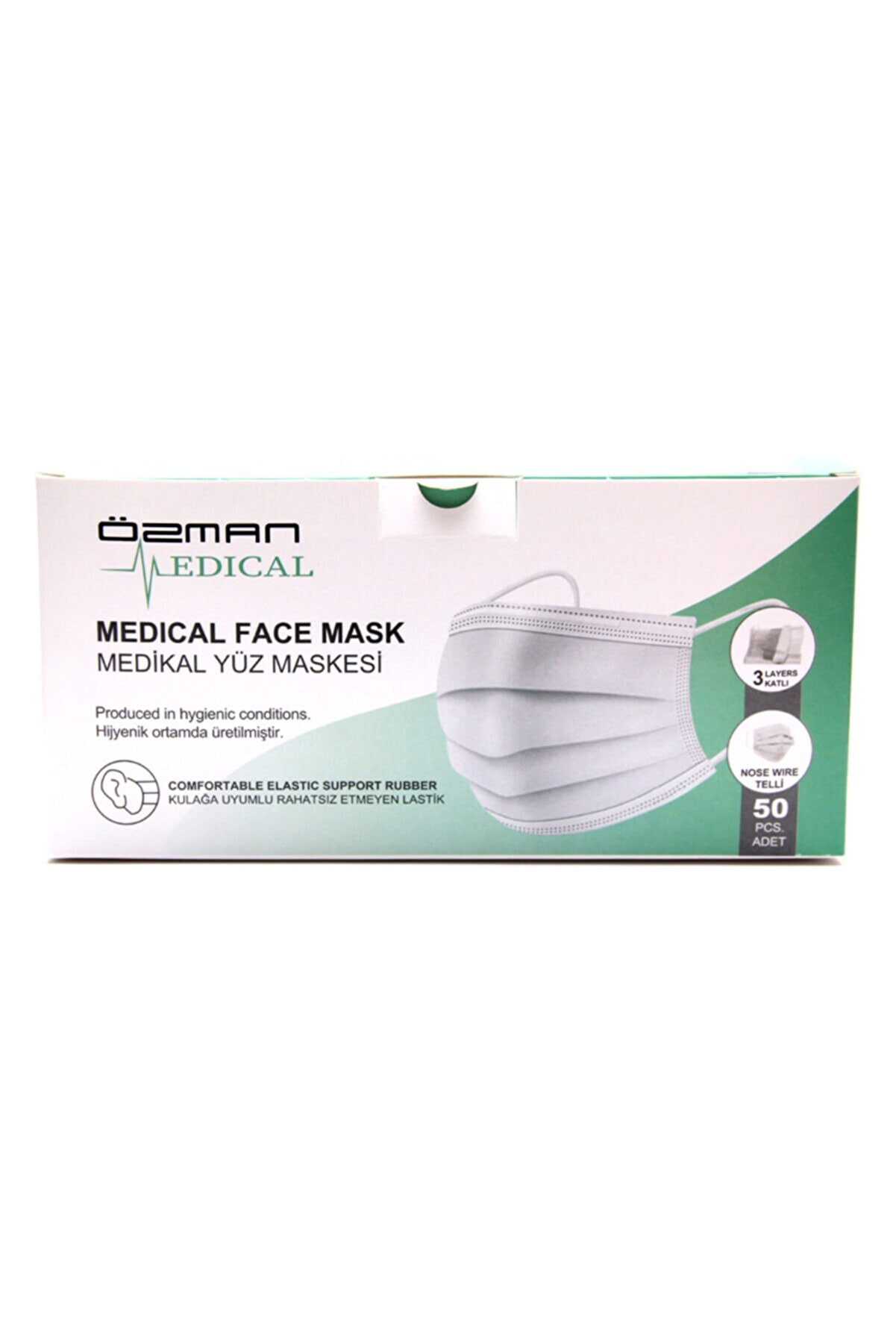 Özman Medical Üç Katlı Telli Meltblownlu Beyaz Cerrahi Maske 50 Adet