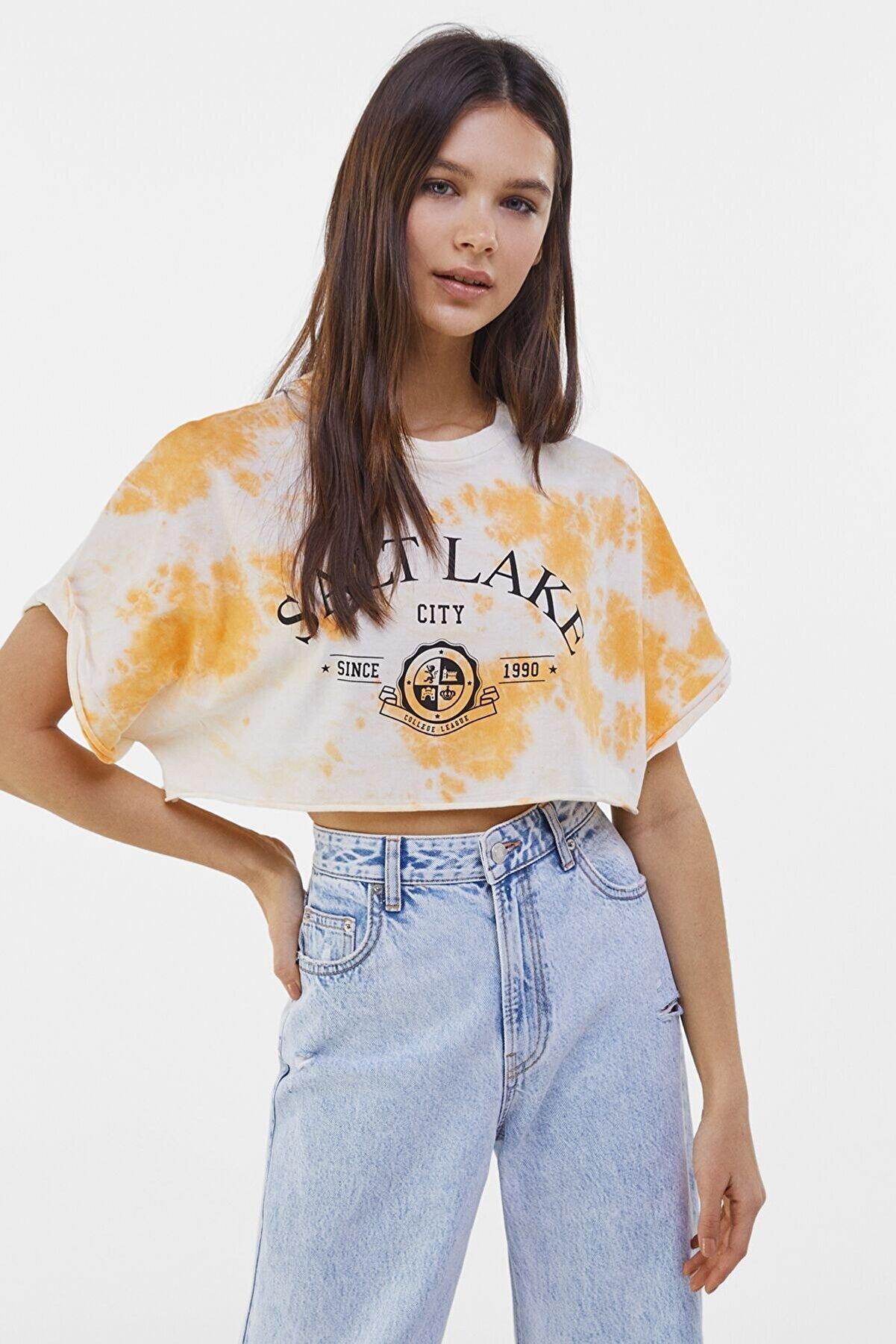 Bershka Kadın Turuncu Kısa Kollu Crop Fit T-Shirt 02211443