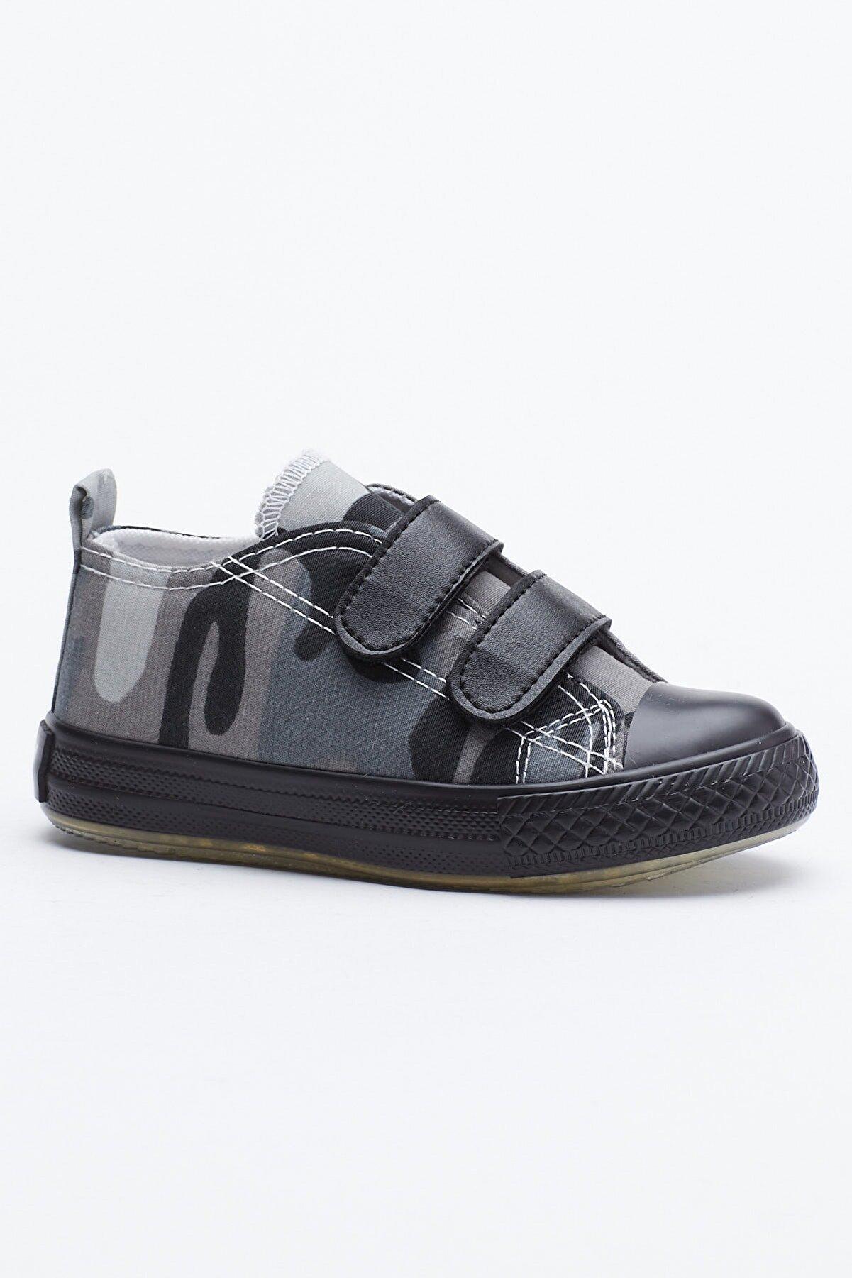 Tonny Black Siyah Yeşil Çocuk Spor Ayakkabı Cırtlı Tb997