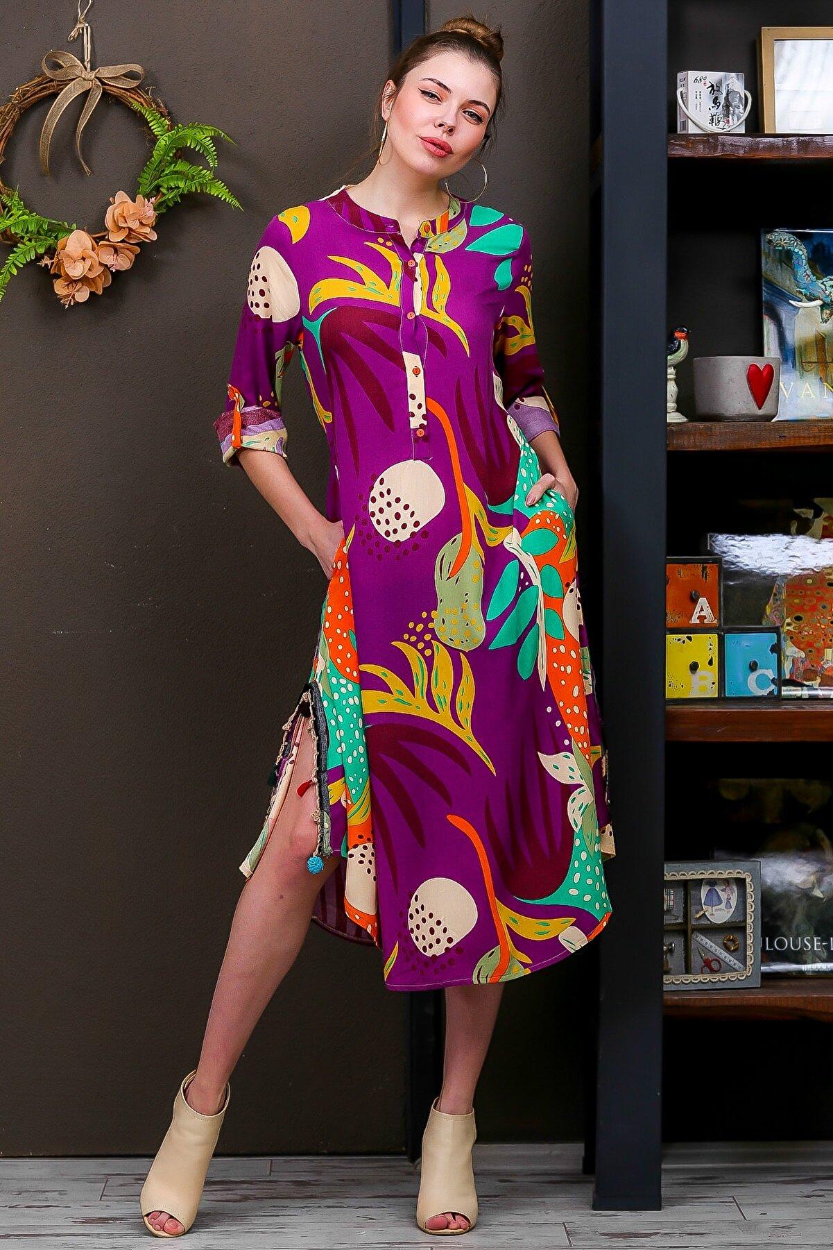 Chiccy Kadın Mor Tropikal Desen Patlı Salaş Yanı Püskül Detaylı Yırtmaçlı Dokumaelbise M10160000EL95653