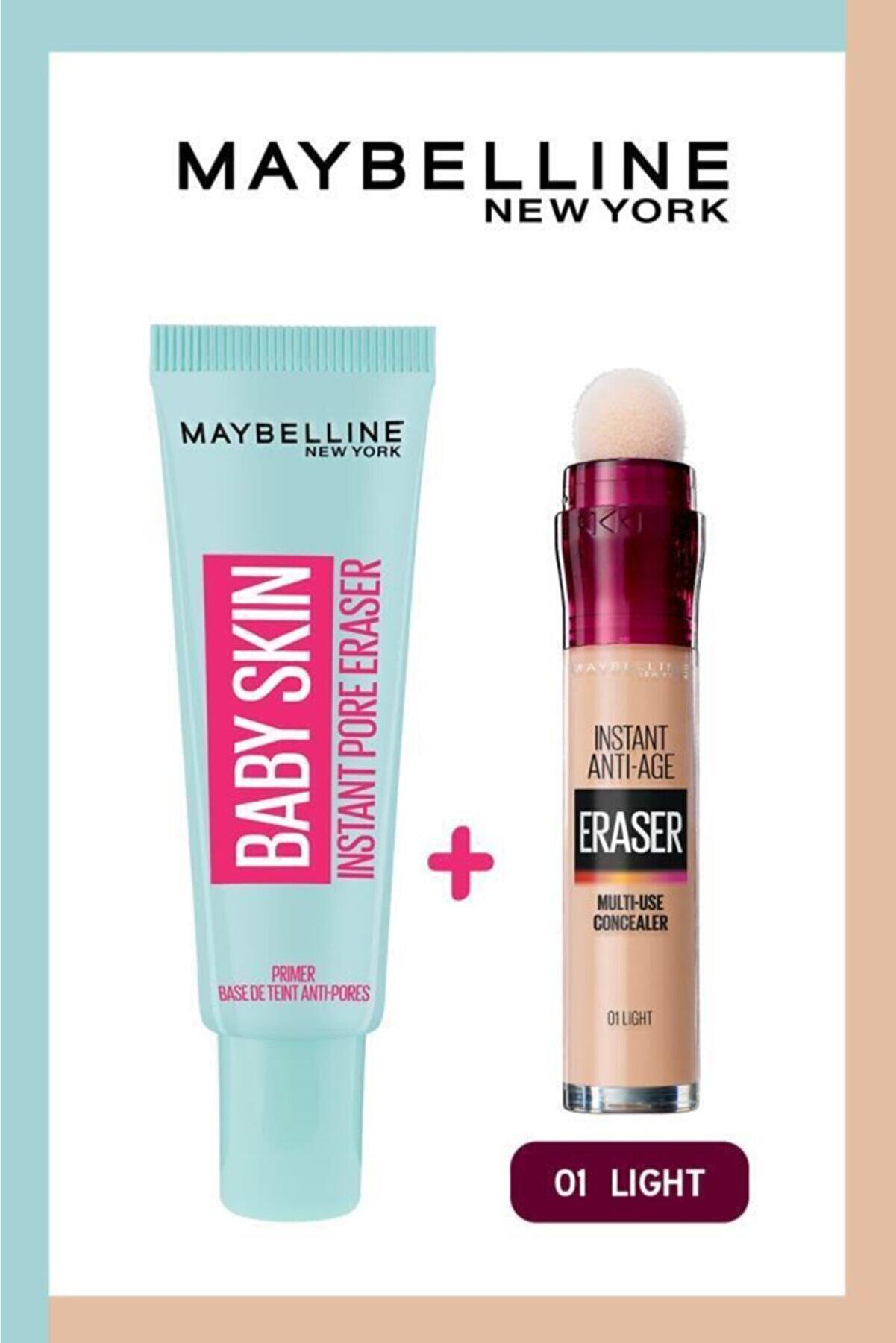 Maybelline New York Baby Skin Makyaj Bazı + Instant Anti Age Eraser Kapatıcı 01 Light