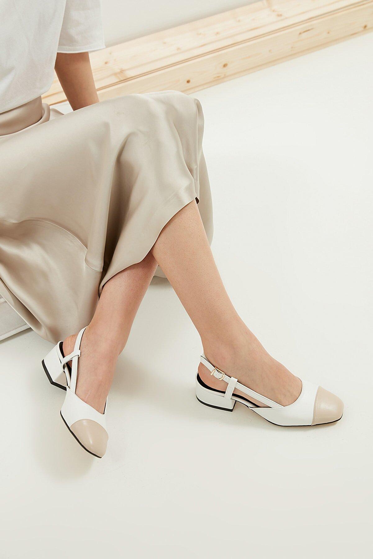 Mio Gusto Hilda Beyaz Kısa Topuklu Ayakkabı