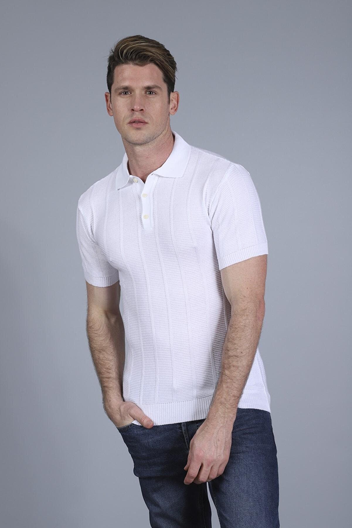 Figo Erkek Beyaz Çizgili Polo Yaka Triko  T-shirt