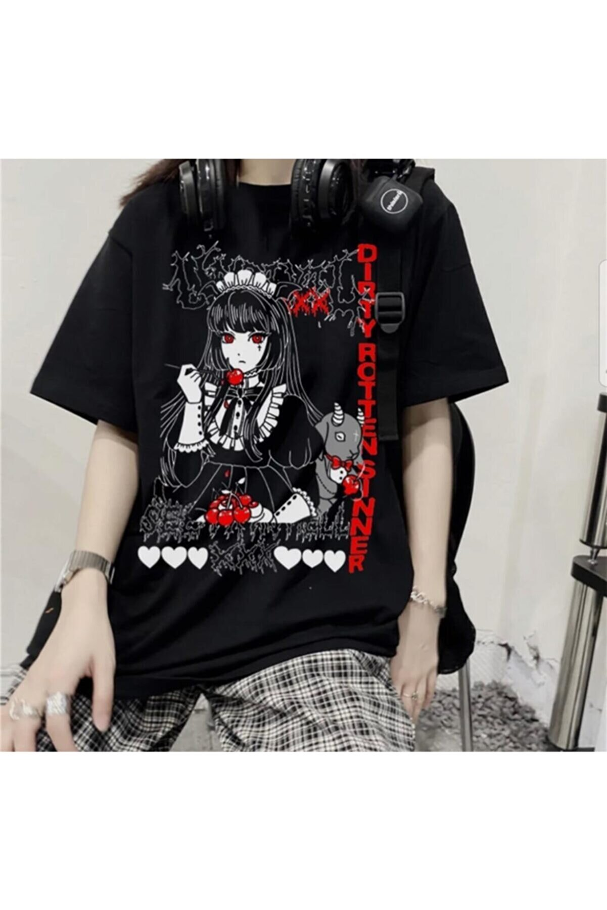 Köstebek Unisex Harajuku Anime Punk T-Shirt